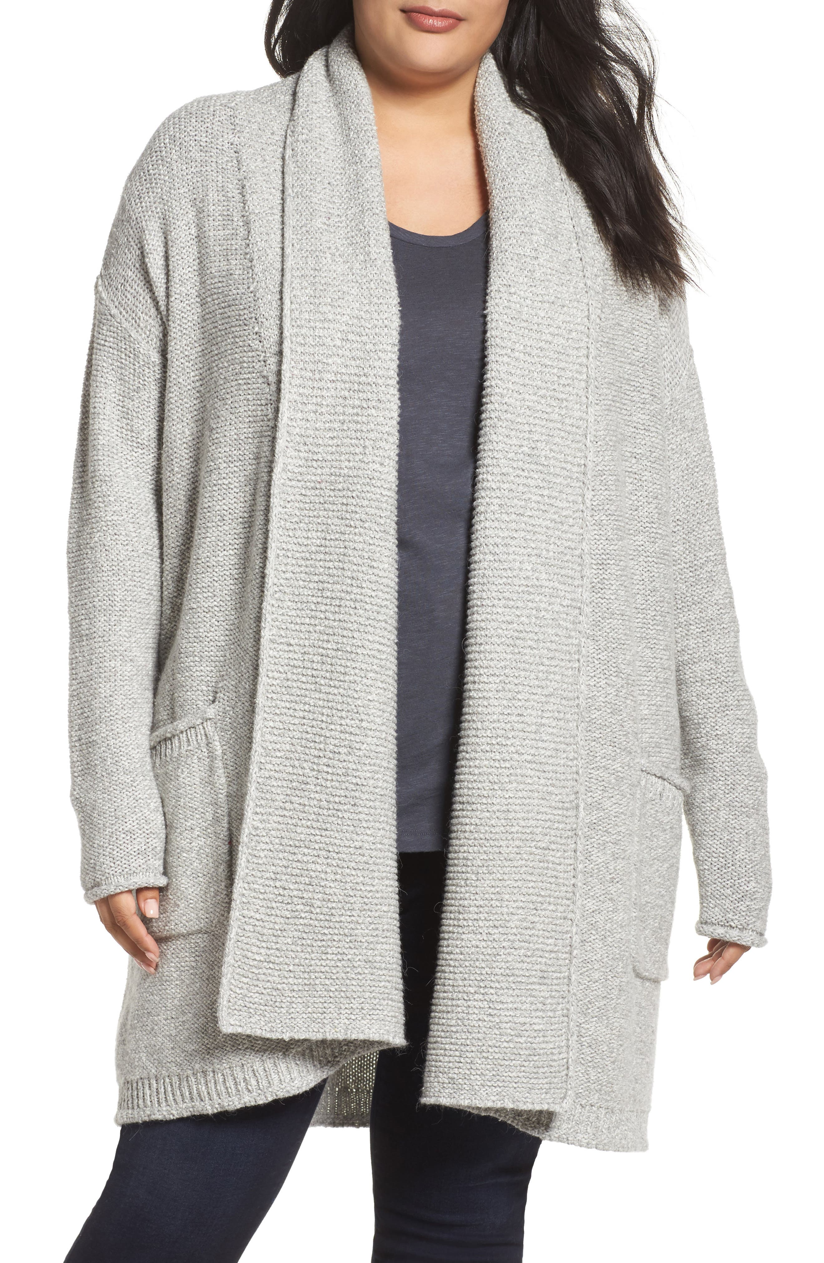 Caslon® Shawl Collar Cardigan (Plus Size)