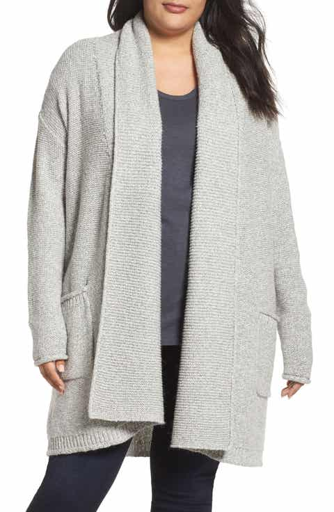 Caslon® Shawl Collar Cardigan (Plus Size)