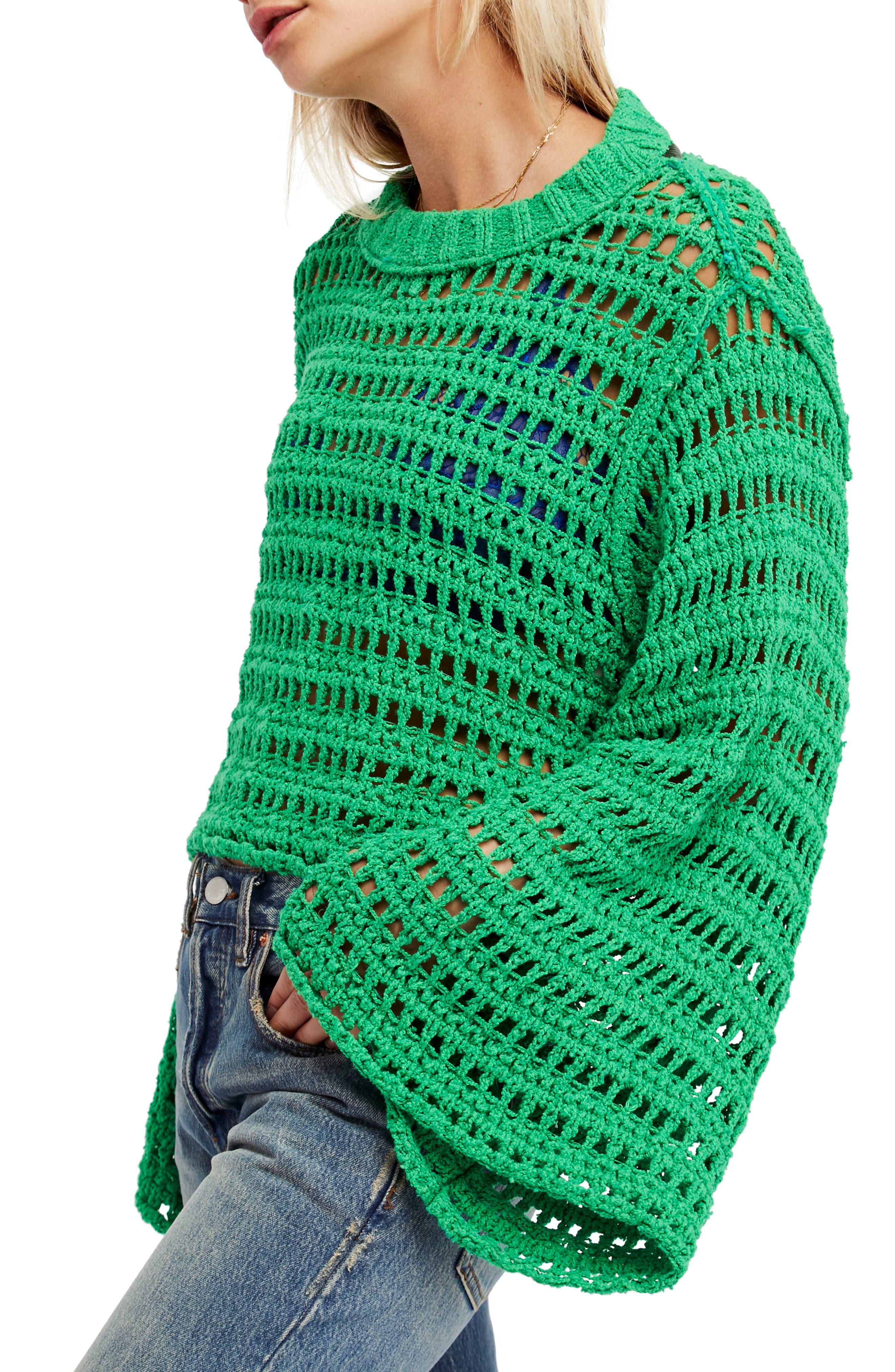 Caught Up Crochet Top,                             Main thumbnail 1, color,                             Kelly Green