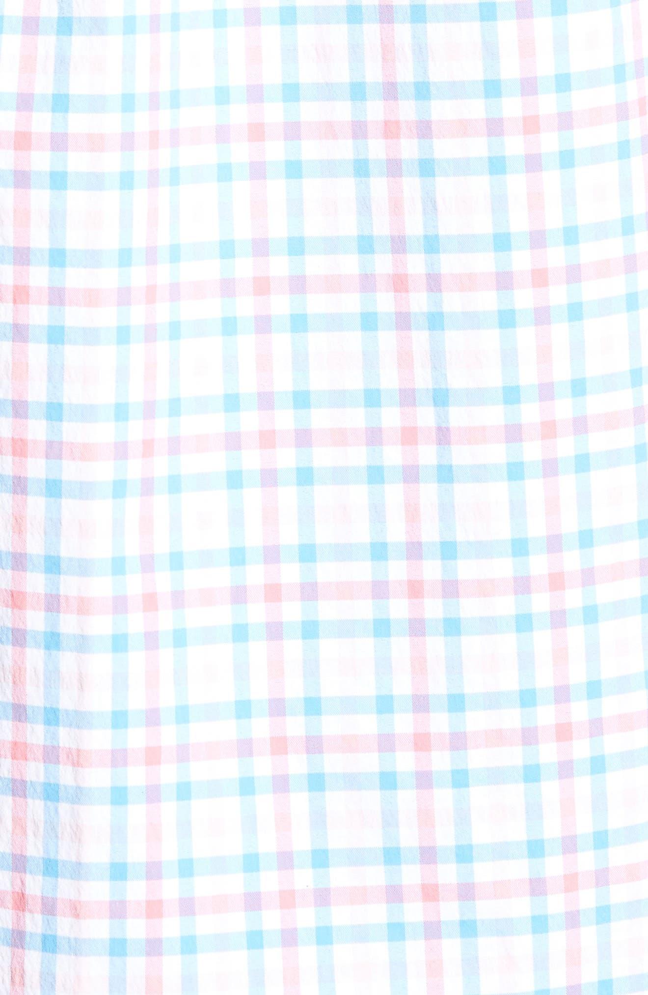 Gulf Shore Tucker Classic Fit Gingham Sport Shirt,                             Alternate thumbnail 5, color,                             Bahama Breeze