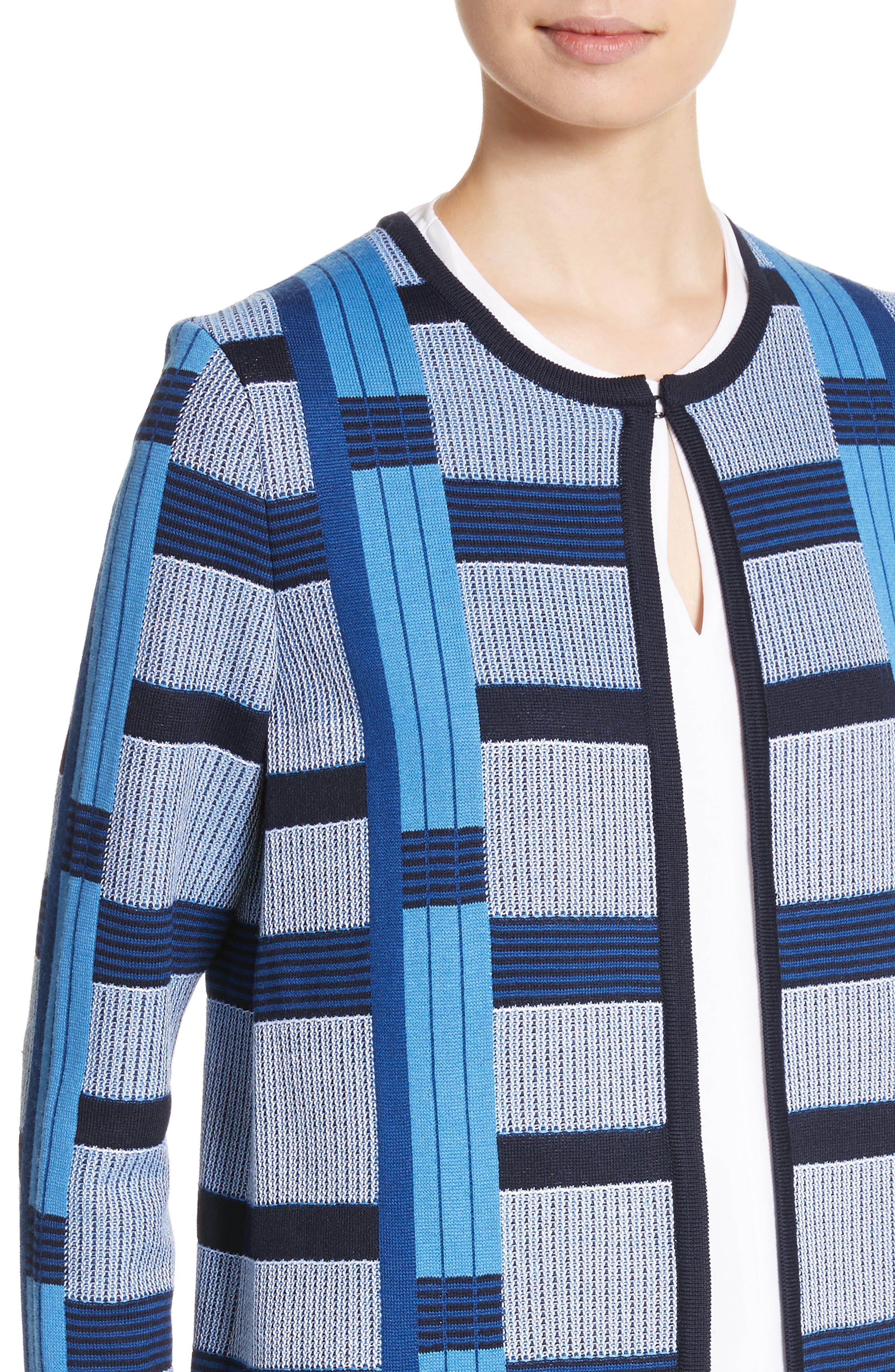 Colorblock Knit Jacket,                             Alternate thumbnail 4, color,                             Niagara Multi