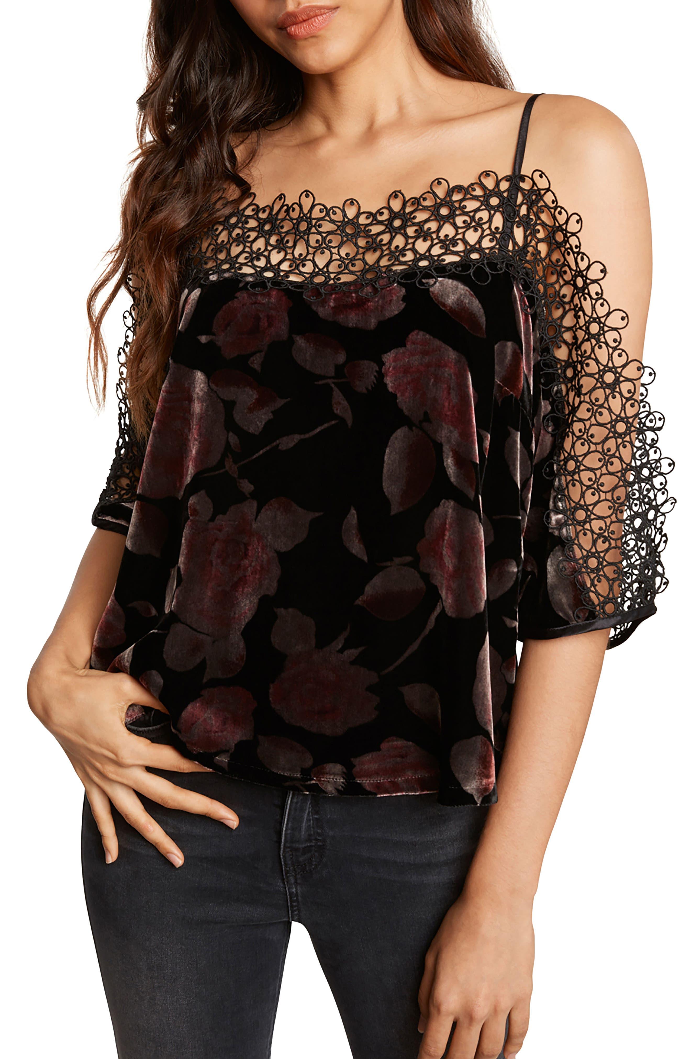 Velvet Cold Shoulder Top,                         Main,                         color, Black