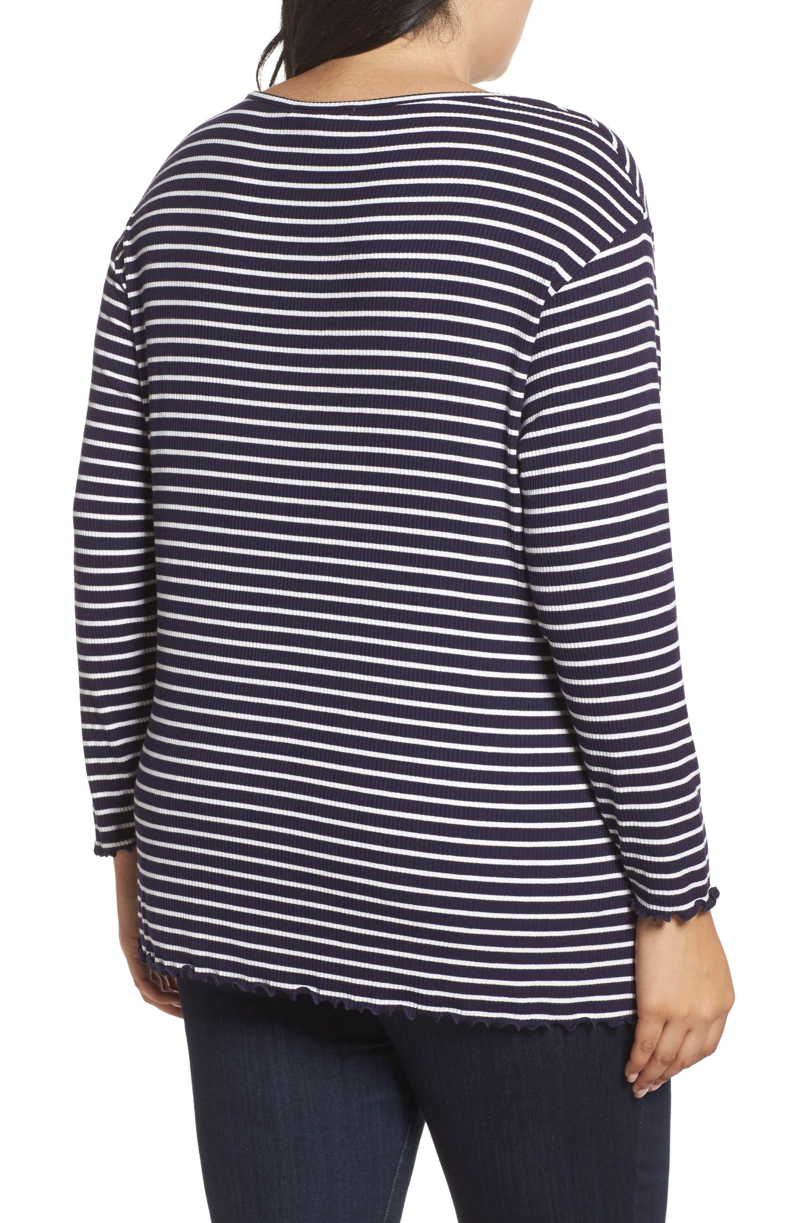 Scoop Neck Long Sleeve Tee,                             Alternate thumbnail 2, color,                             Navy- White Stripe