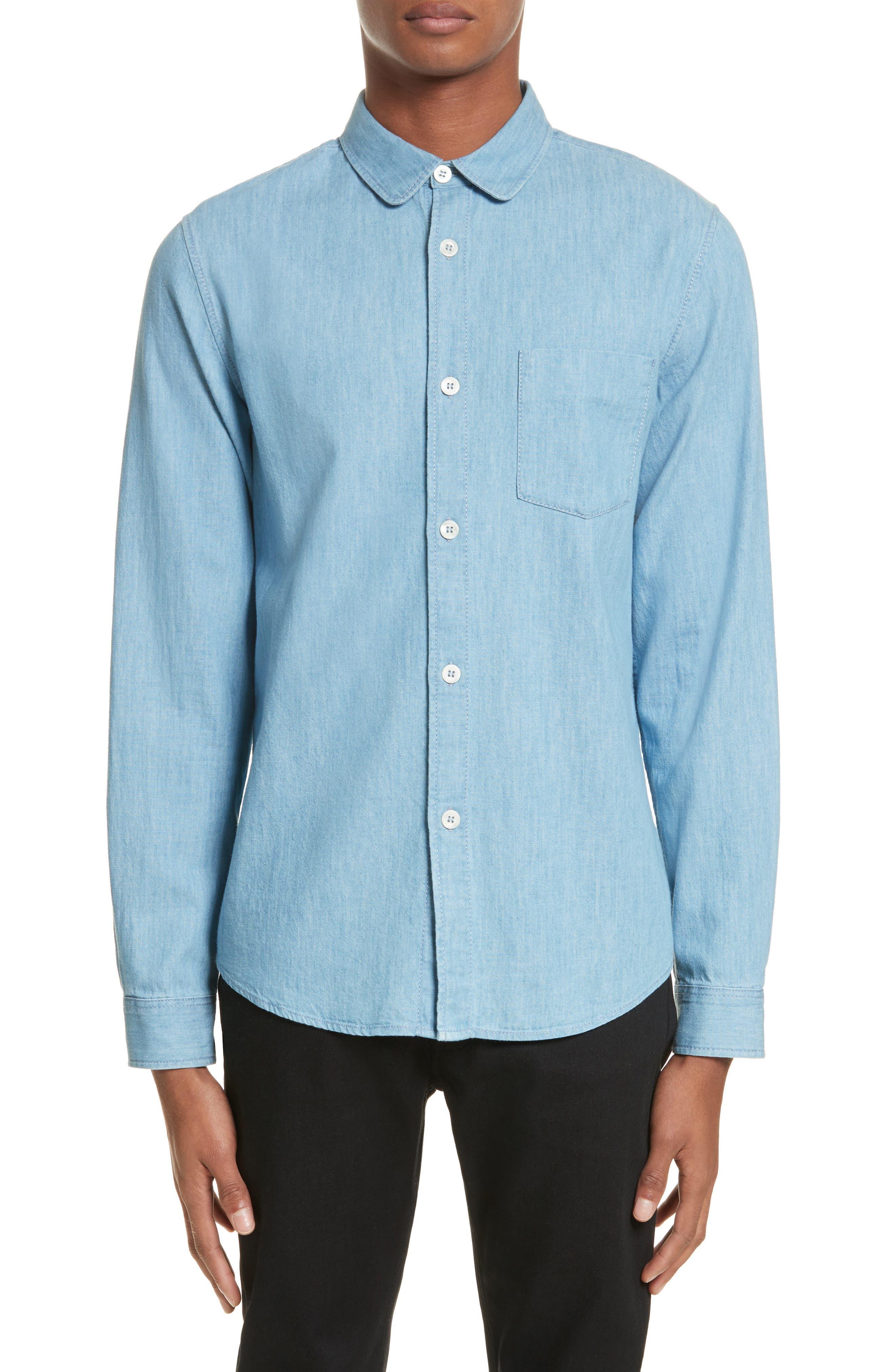 Chambray Shirt,                             Main thumbnail 1, color,                             Bleu Iaa