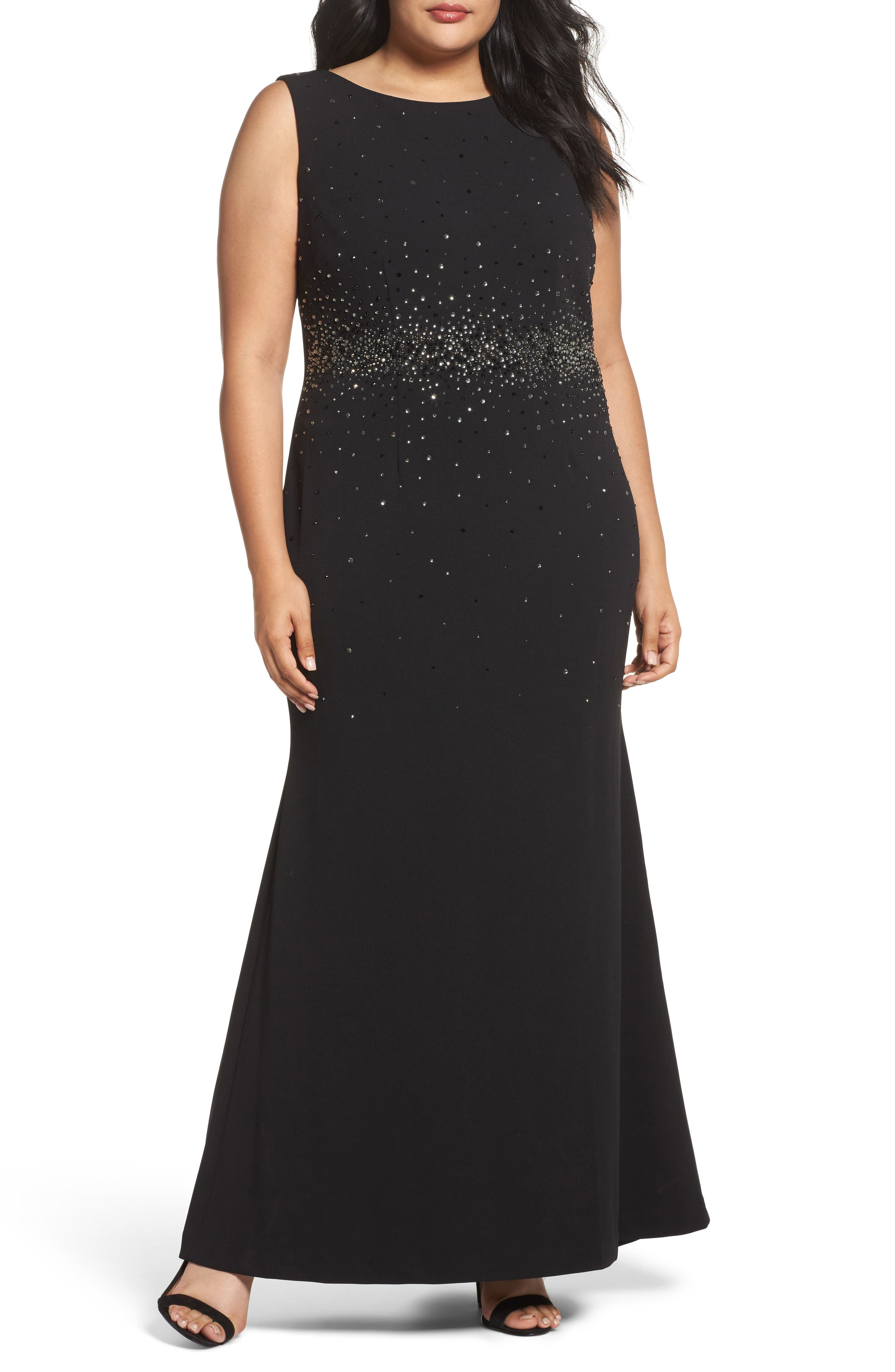 Embellished A-Line Gown,                             Main thumbnail 1, color,                             Black