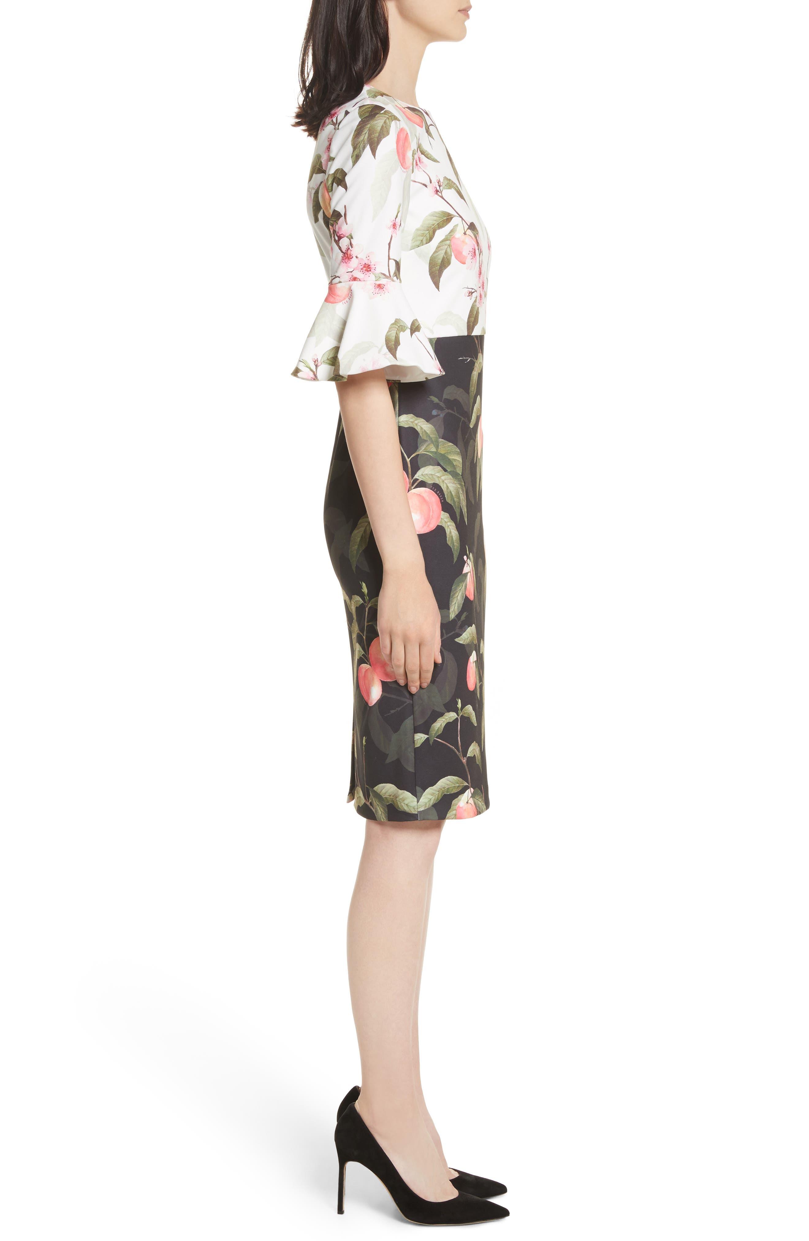 Peach Blossom Sheath Dress,                             Alternate thumbnail 3, color,                             Black