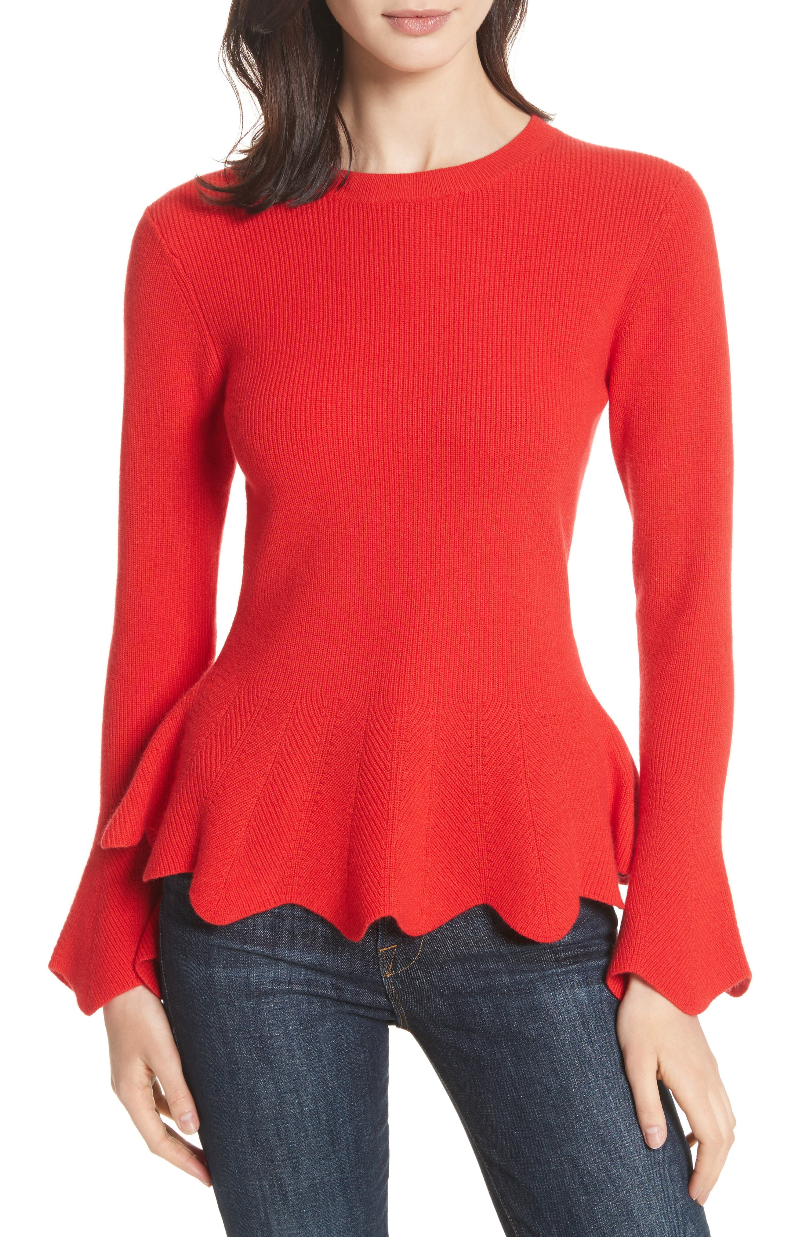 Peplum Sweater,                         Main,                         color, Bright Red