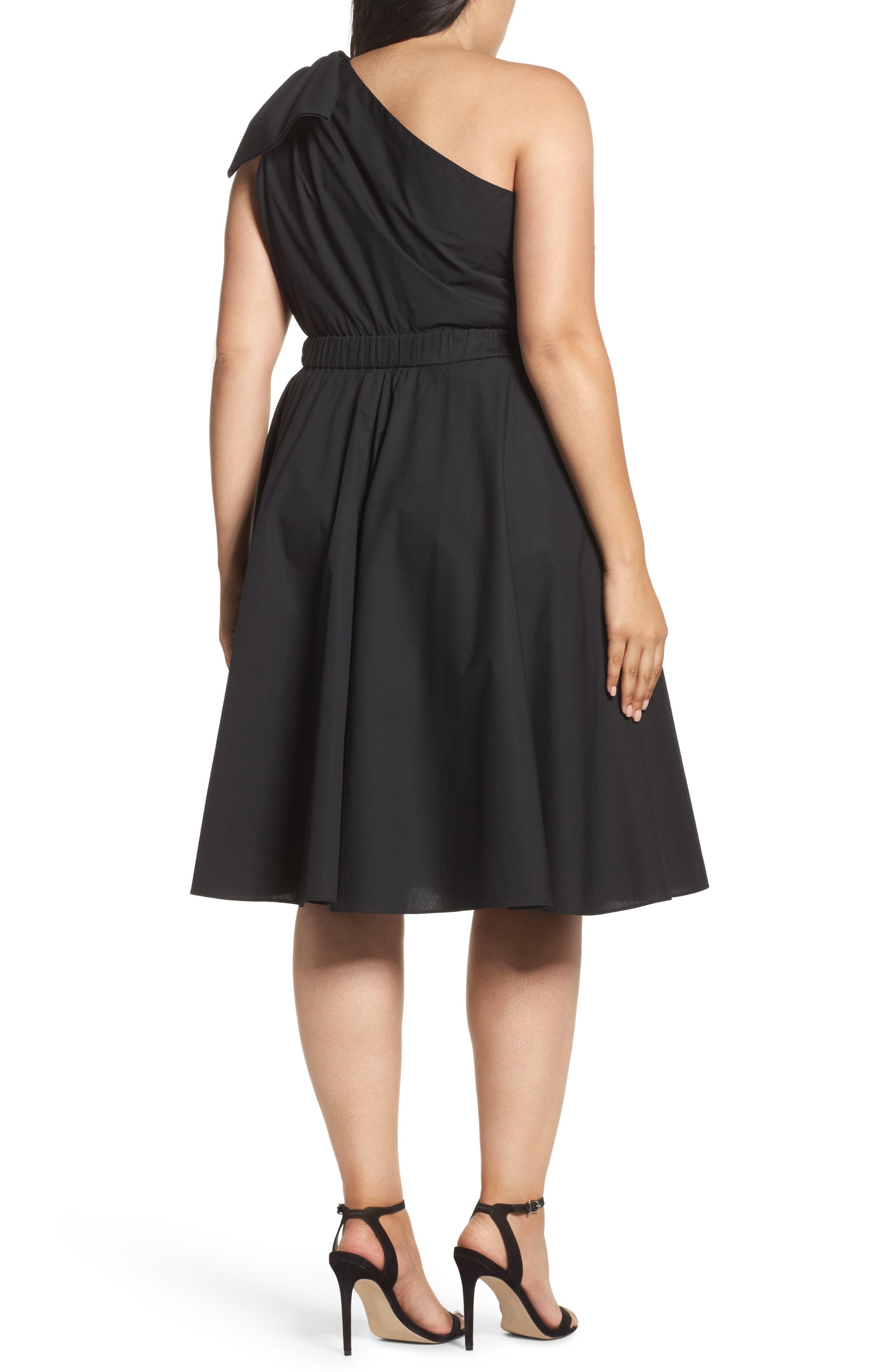 One-Shoulder Fit & Flare Dress,                             Alternate thumbnail 3, color,                             Black