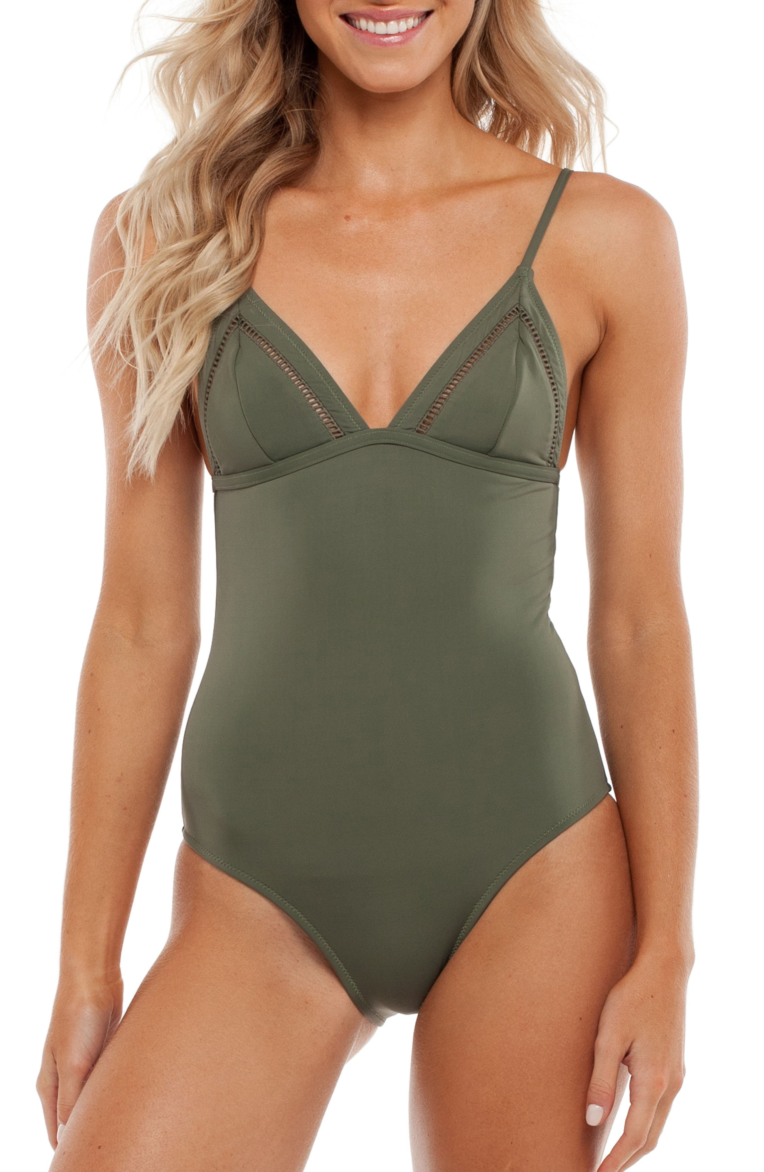 My Bralette One-Piece Swimsuit,                         Main,                         color, Seaweed