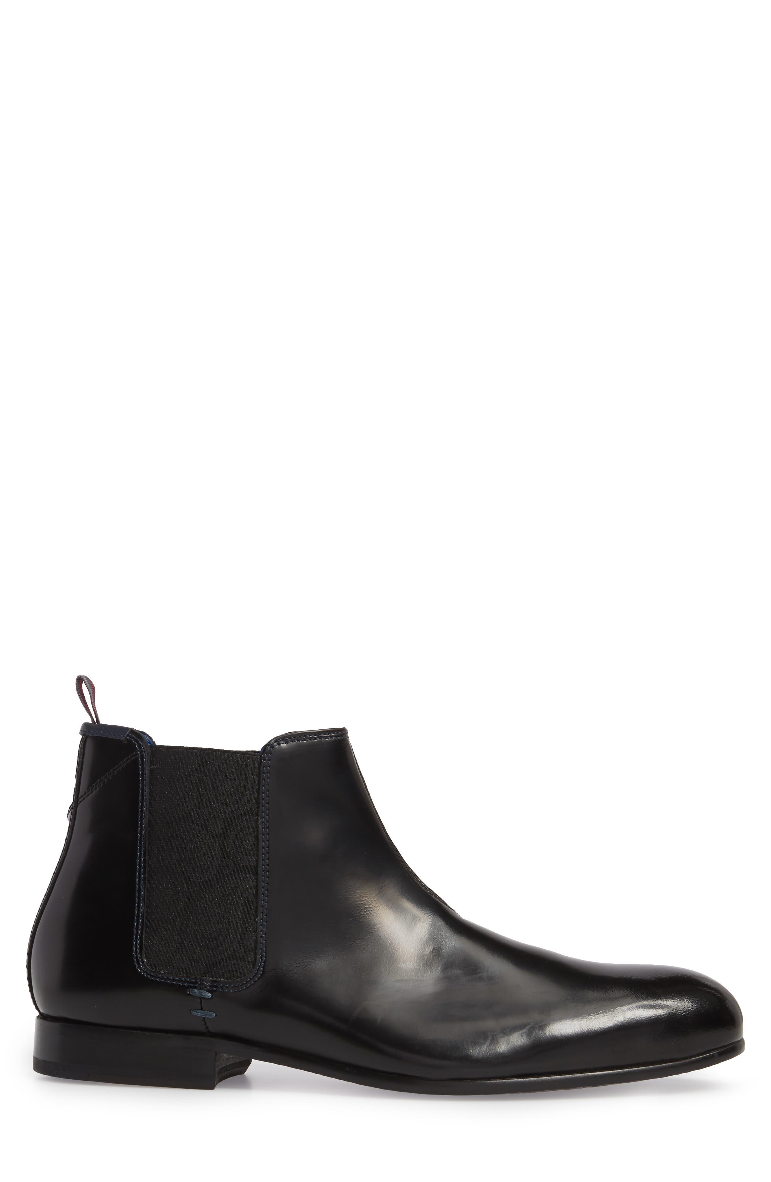 Auldham Chelsea Boot,                             Alternate thumbnail 3, color,                             Black Leather