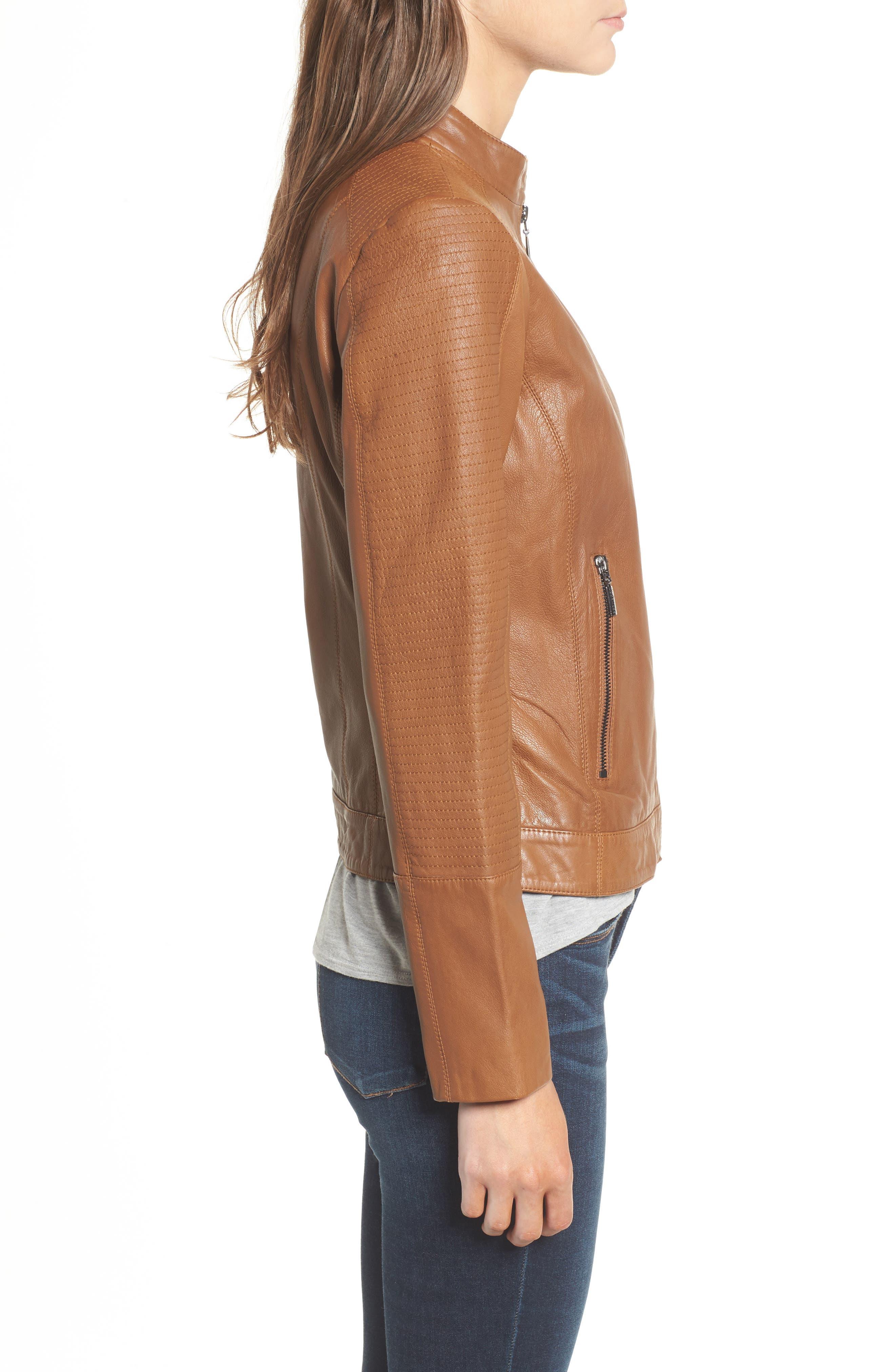 Kirwin Leather Moto Jacket,                             Alternate thumbnail 3, color,                             Pecan