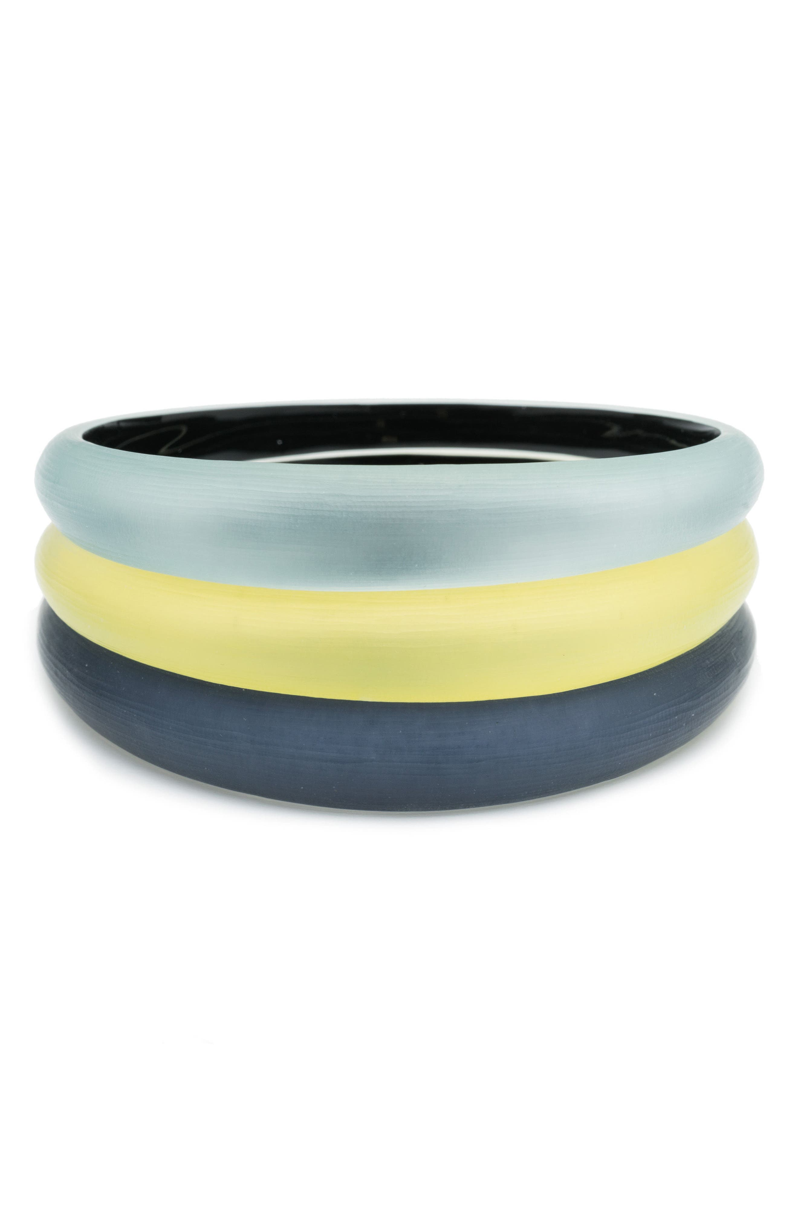 Alex Bittar Set of 3 Tapered Lucite<sup>®</sup> Bangle Bracelets,                             Main thumbnail 1, color,                             Ocean/ Grey/ Titanium Yellow