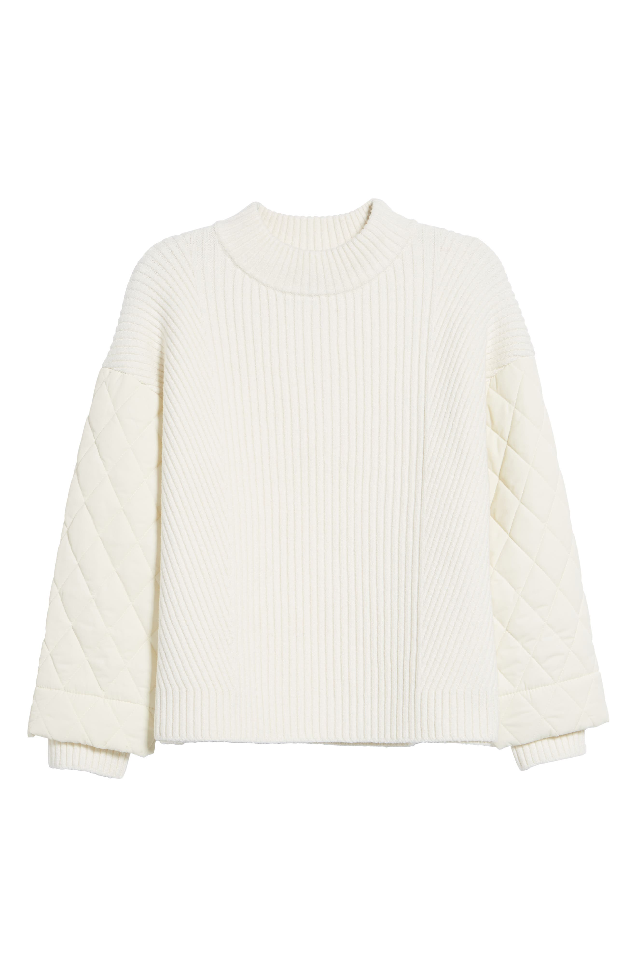 Quilted Sleeve Sweater,                             Alternate thumbnail 6, color,                             E Cream