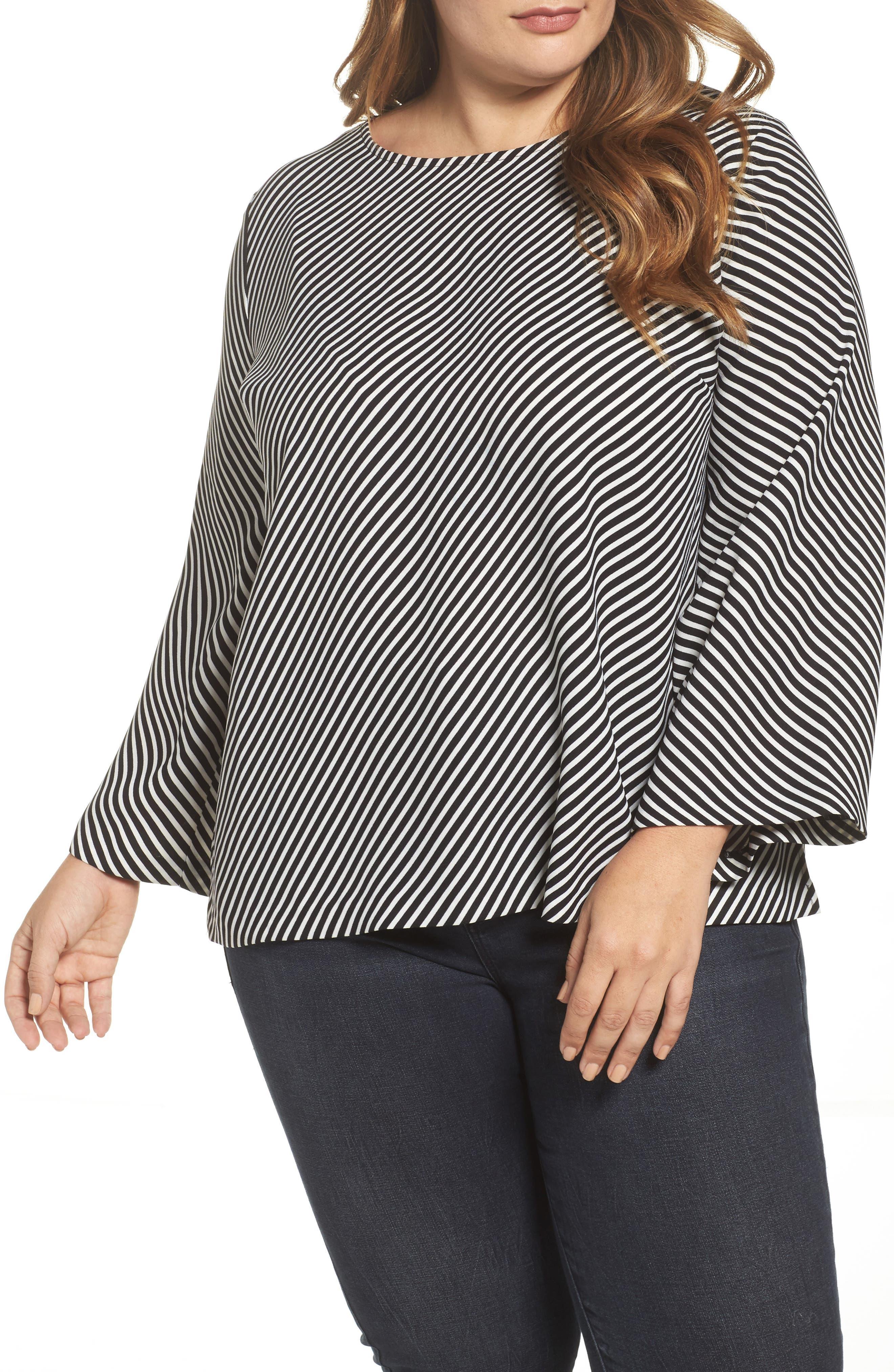 Bell Sleeve Diagonal Stripe Blouse,                         Main,                         color, Rich Black