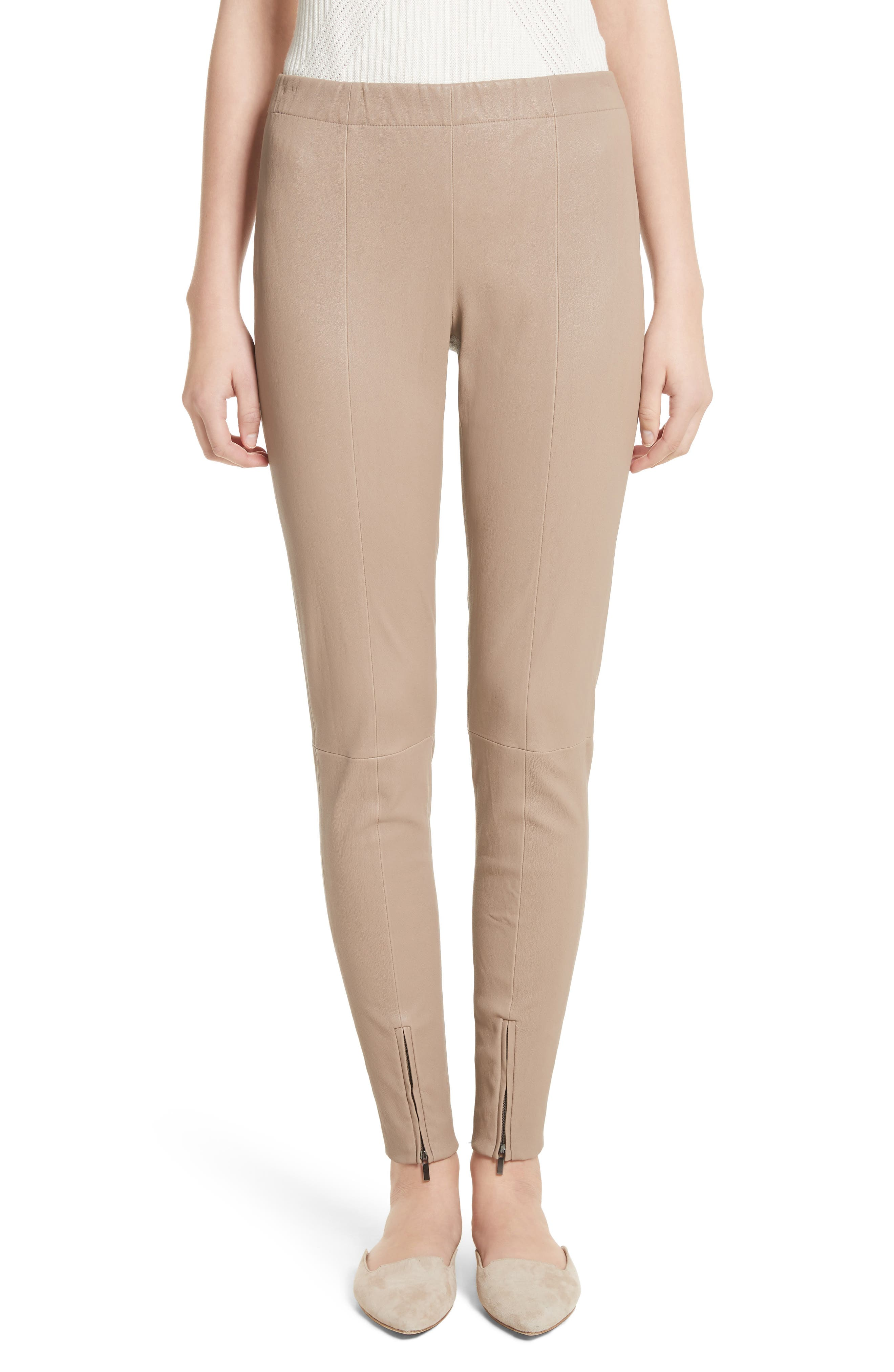 Stretch Leather Pants,                         Main,                         color, Taupe