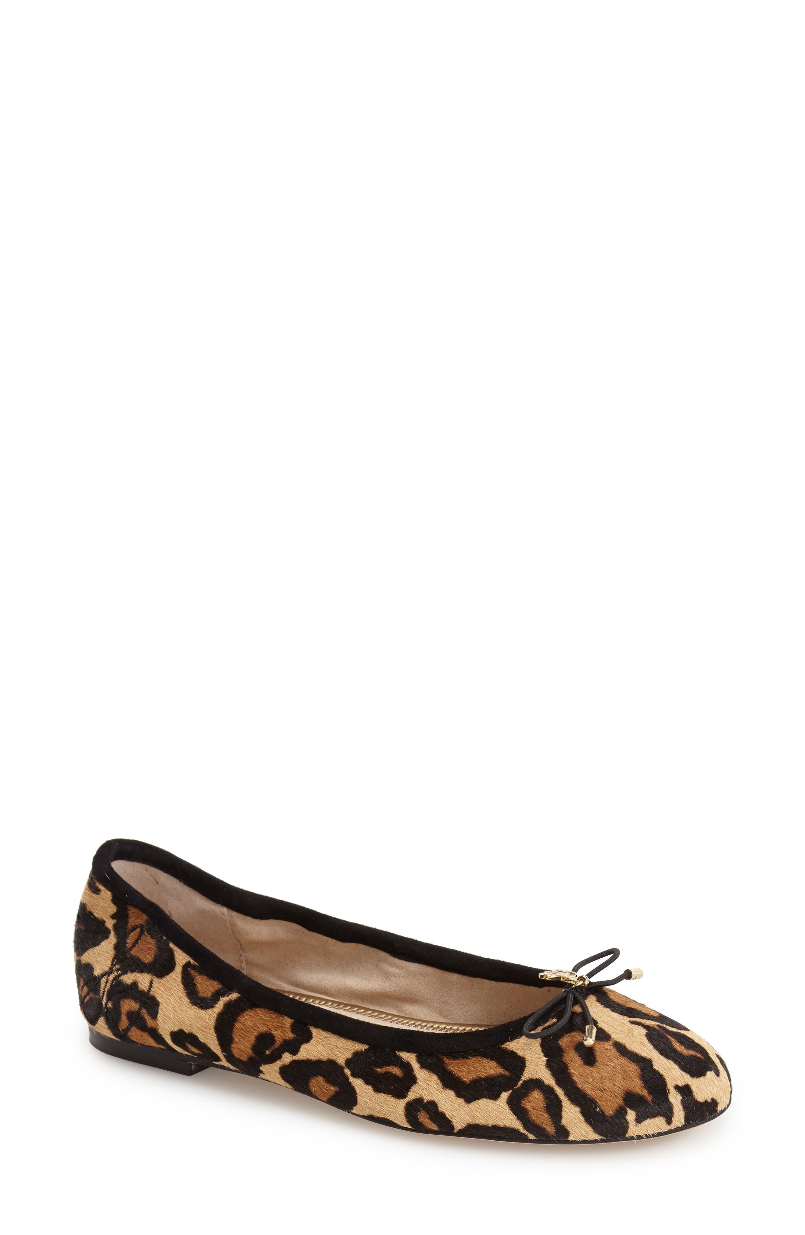'Felicia' Flat,                             Main thumbnail 1, color,                             New Nude Leopard Calf Hair