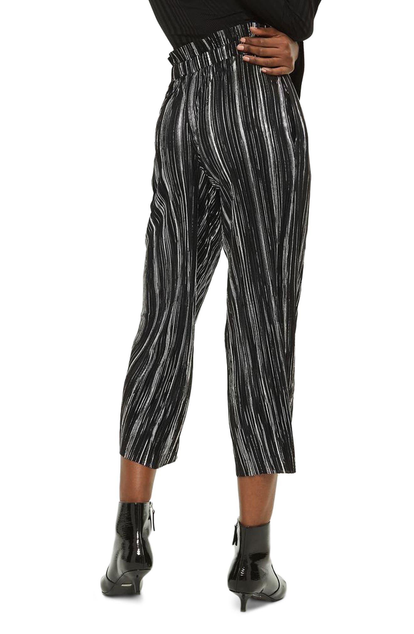 Metallic Plissé Pants,                             Alternate thumbnail 2, color,                             Black Multi