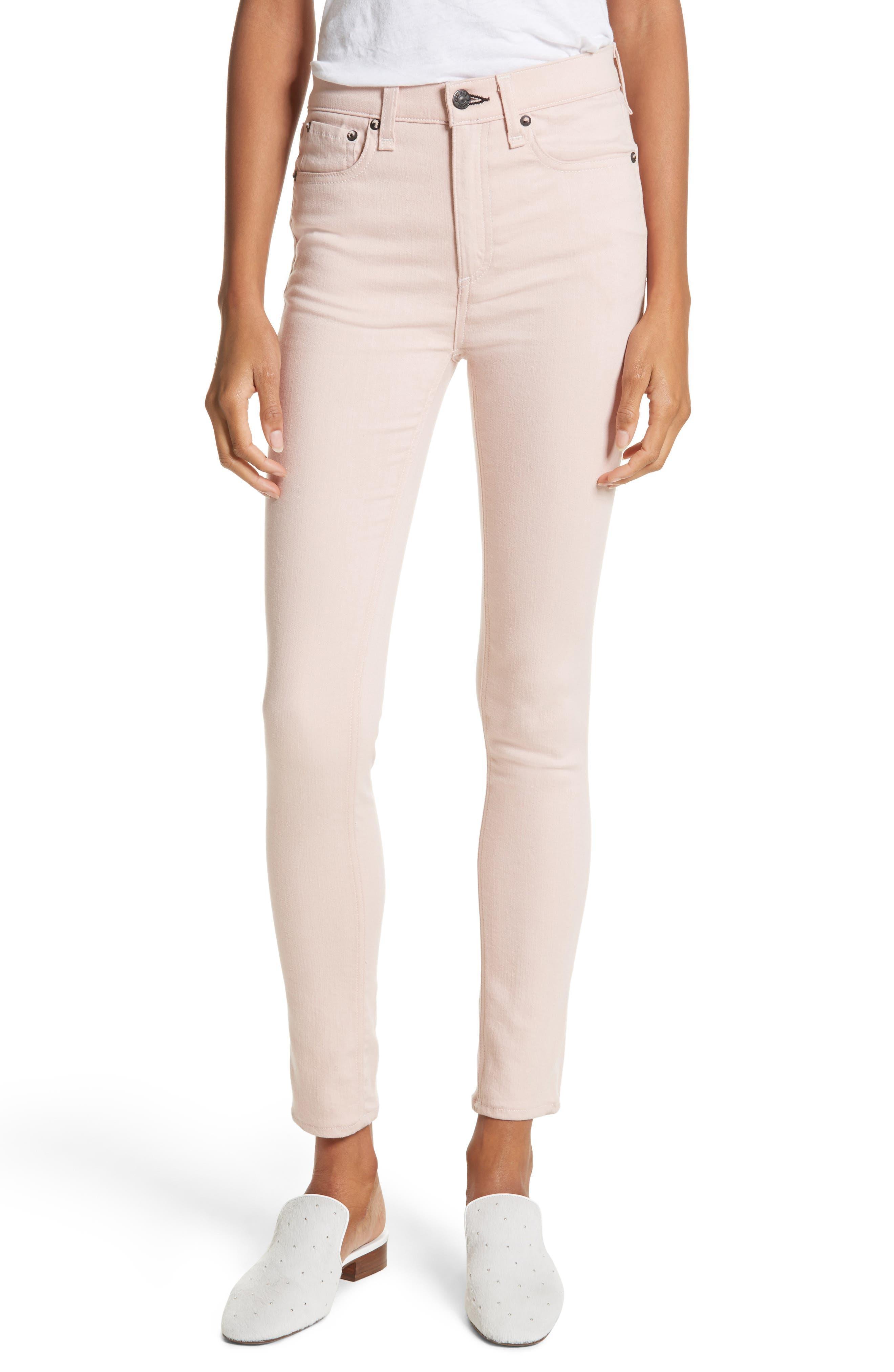 Alternate Image 1 Selected - rag & bone/JEAN High Waist Ankle Skinny Jeans (Blush Twill)