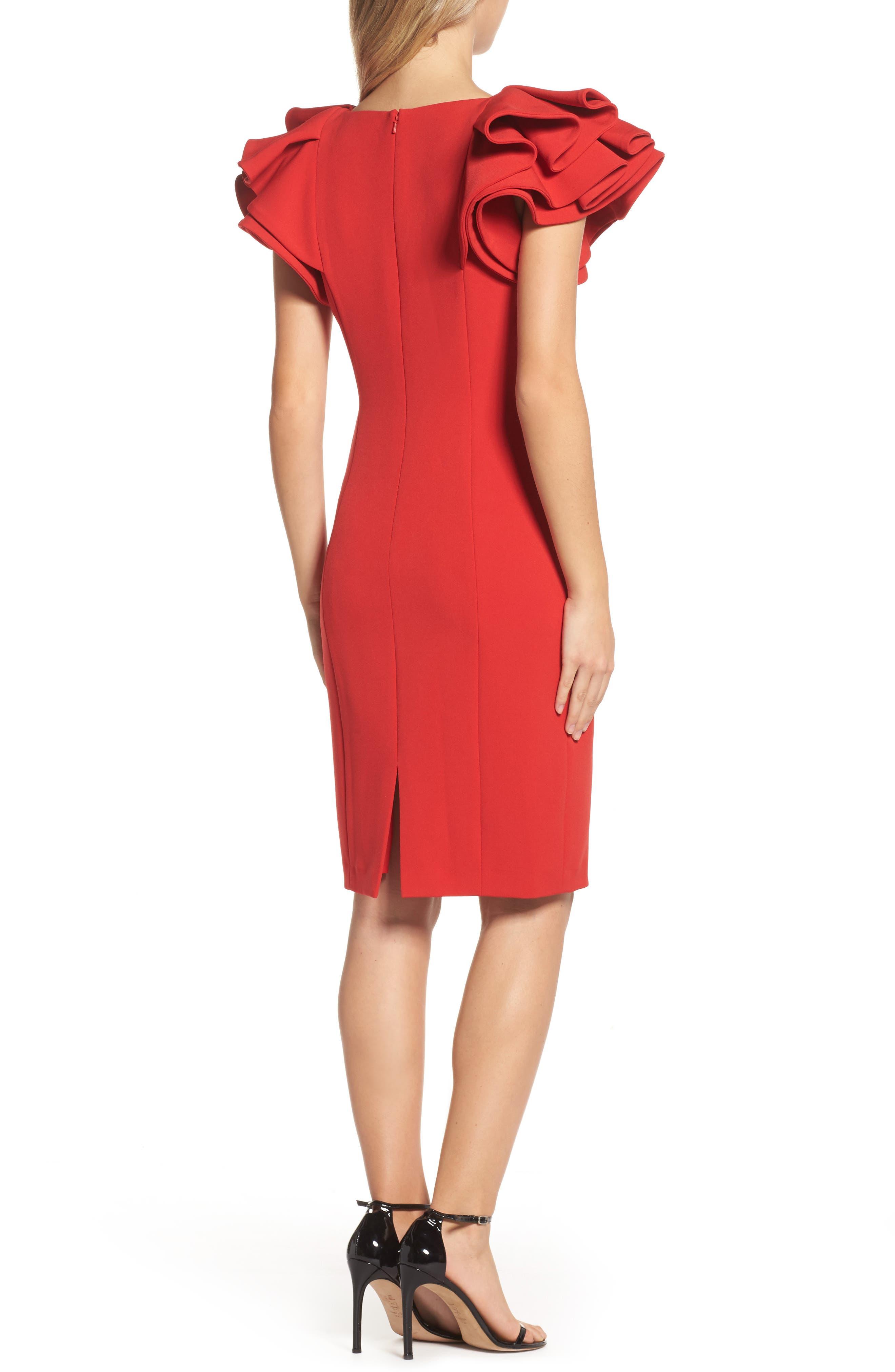 Ruffle Sleeve Sheath Dress,                             Alternate thumbnail 2, color,                             Red