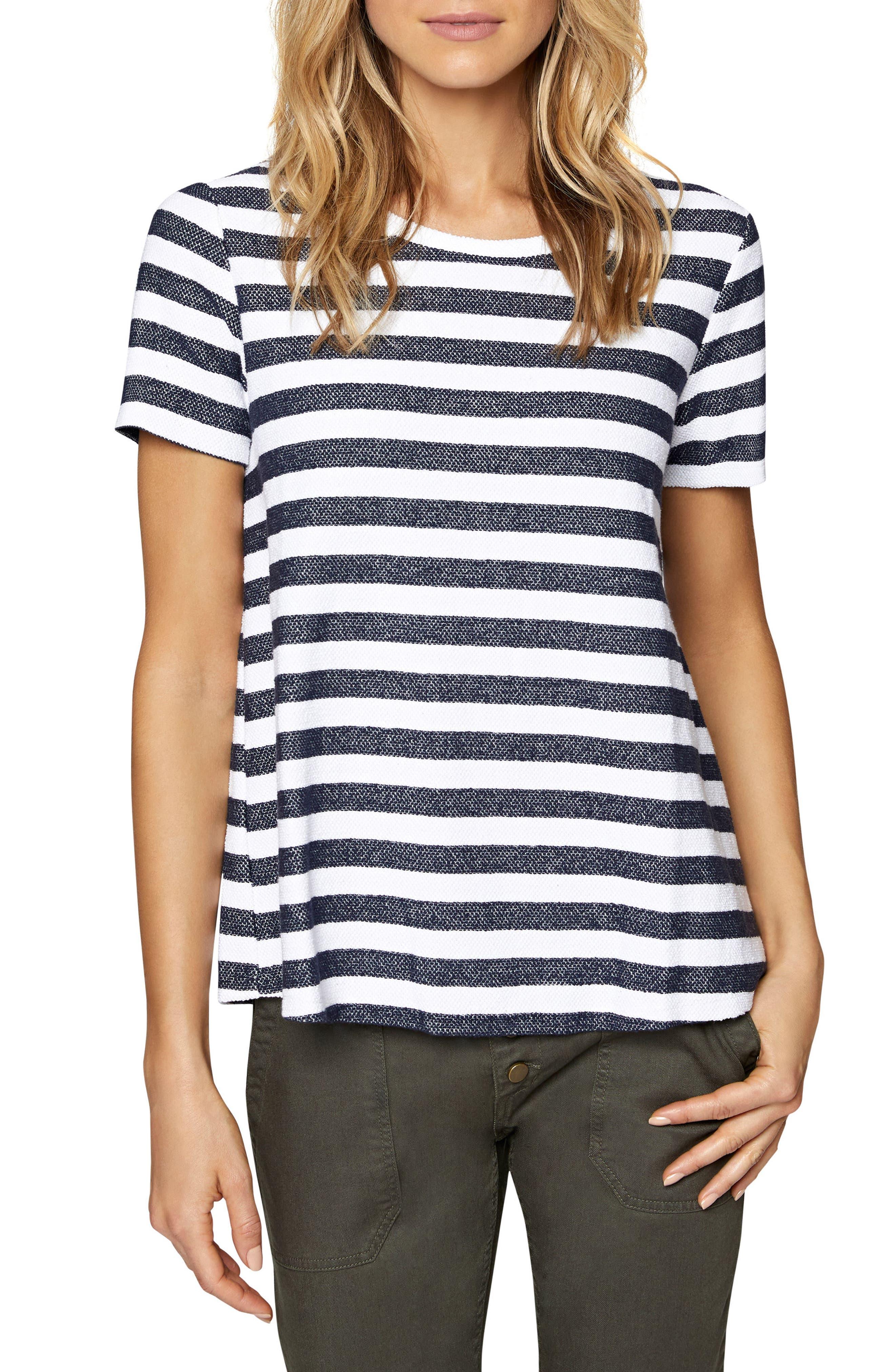 Francesca Back Inset Stripe Tee,                         Main,                         color, Heritage Navy/ Milk