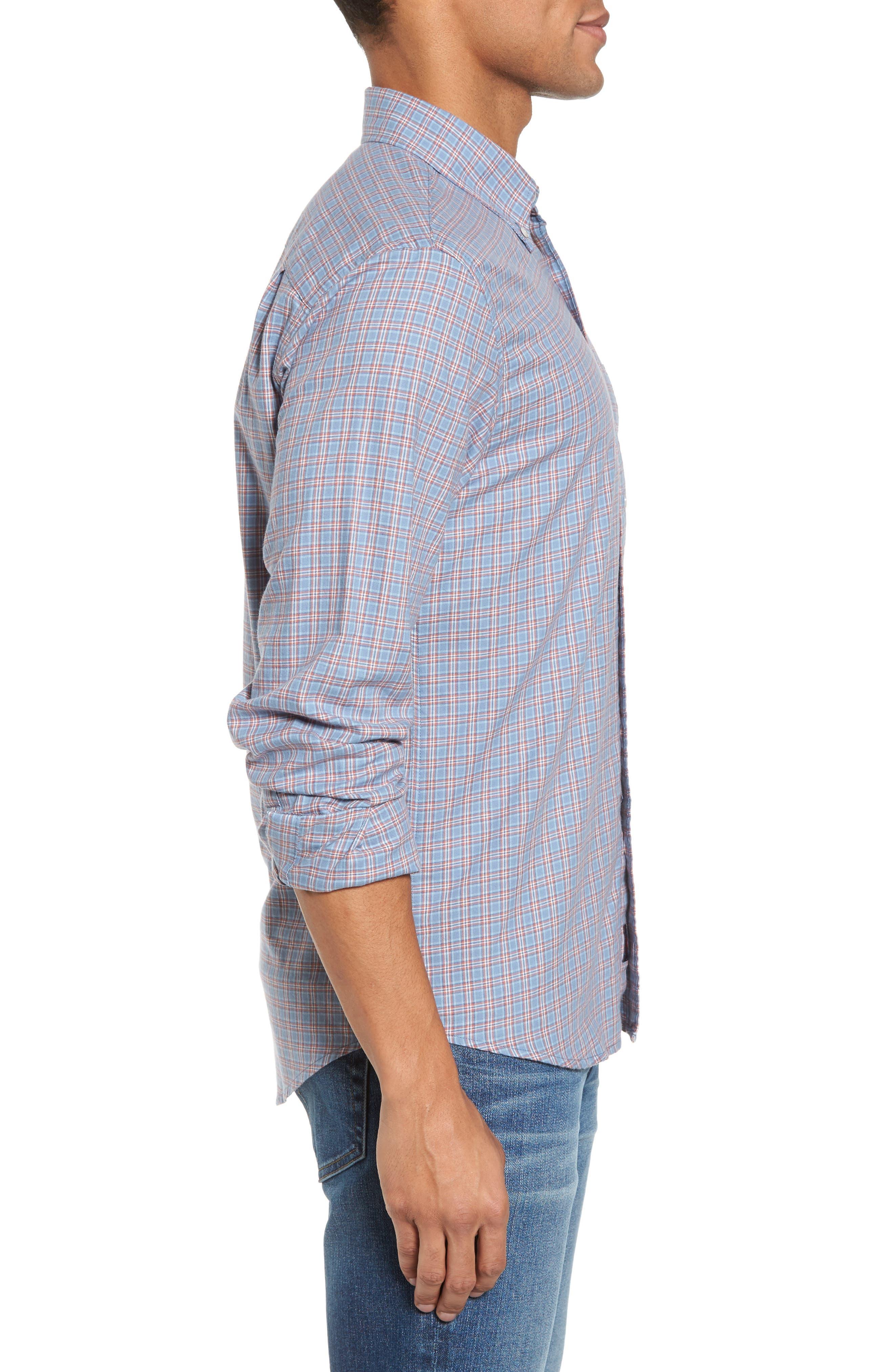 Ventura Plaid Sport Shirt,                             Alternate thumbnail 3, color,                             Light Blue Autumn Check