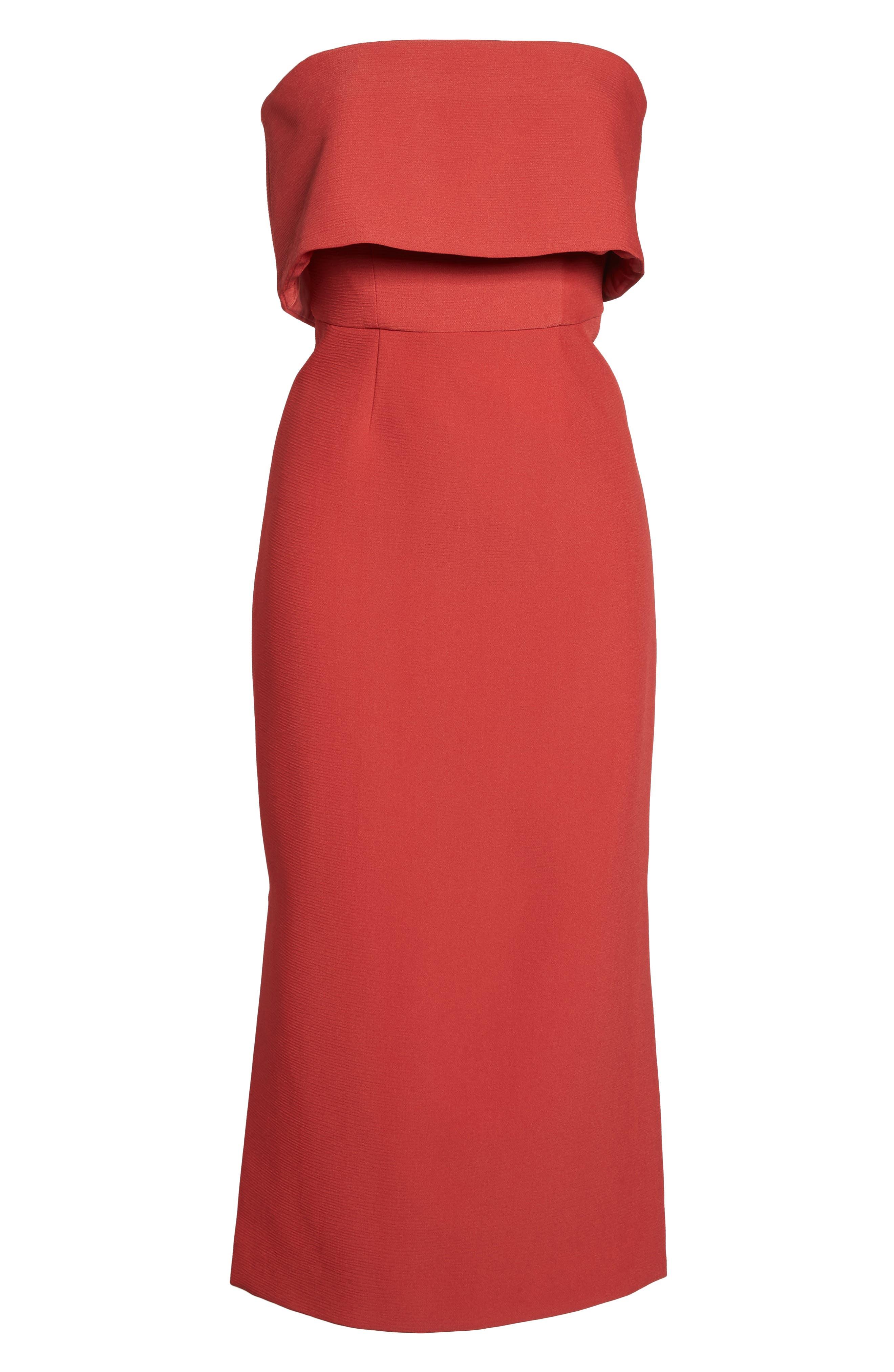 Infinite Strapless Dress,                             Alternate thumbnail 6, color,                             Rust