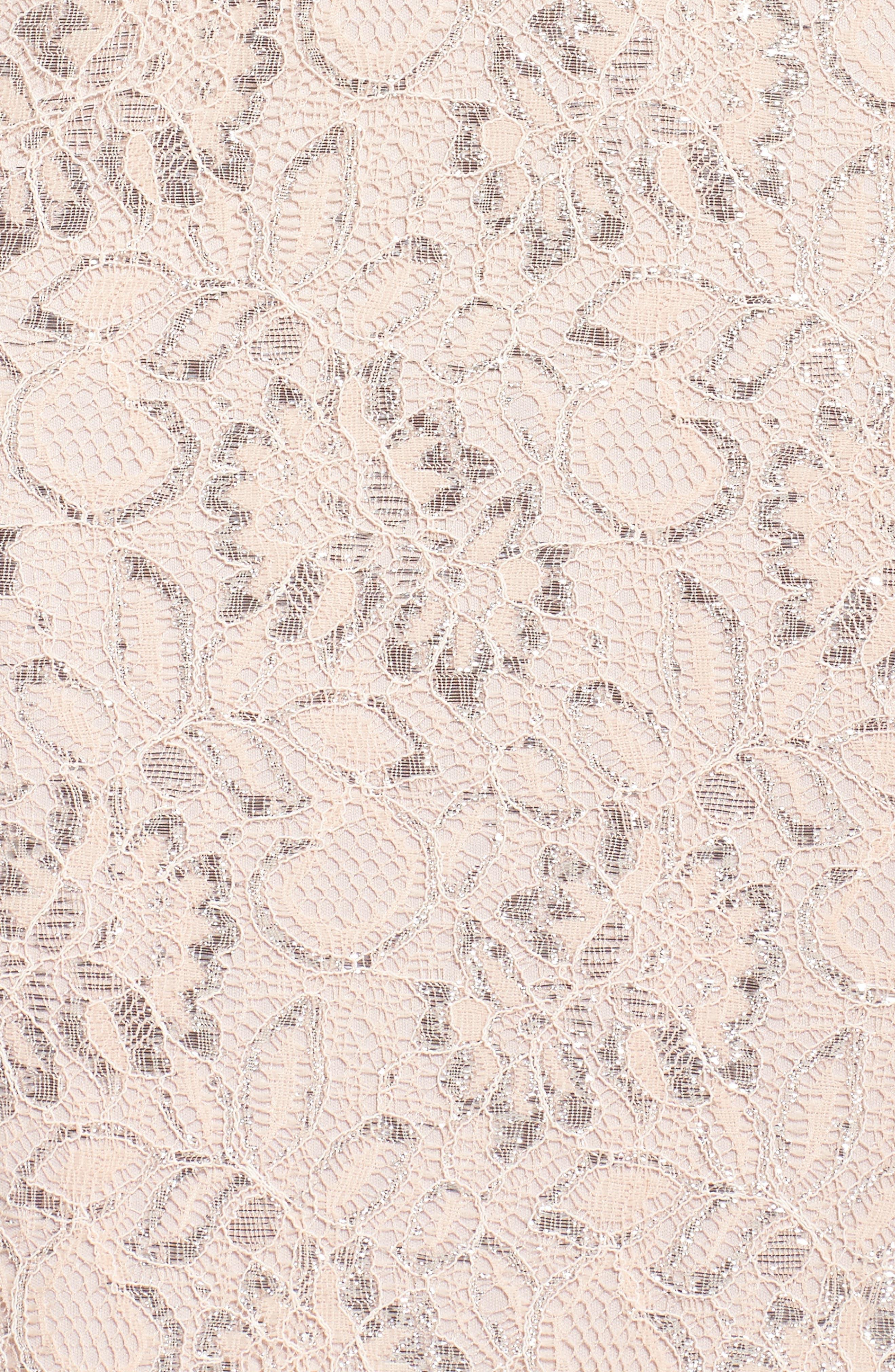 Foil Lace Mermaid Gown,                             Alternate thumbnail 5, color,                             Blush