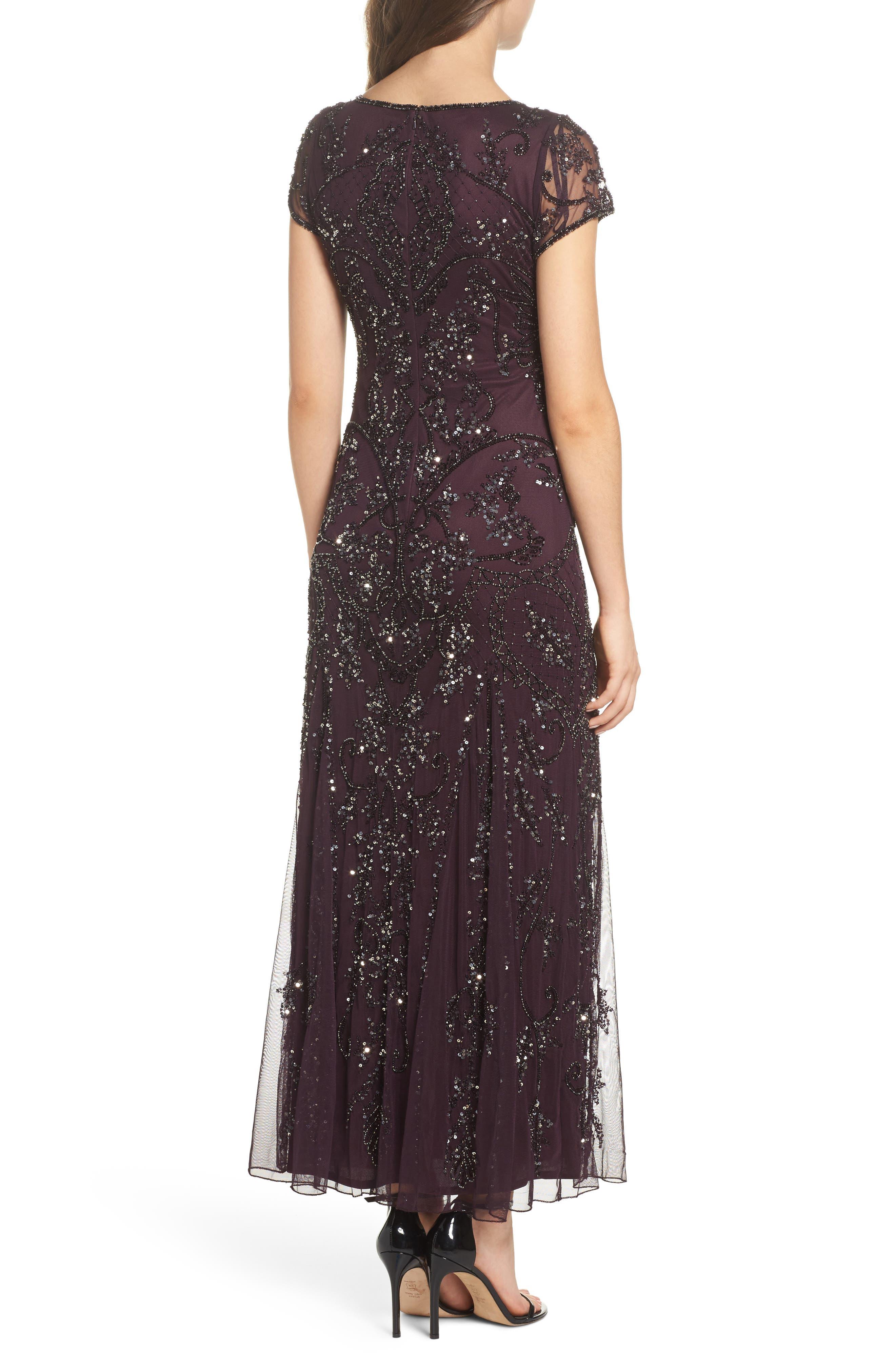 Alternate Image 2  - Pisarro Nights Embellished Mesh Gown (Regular & Petite)