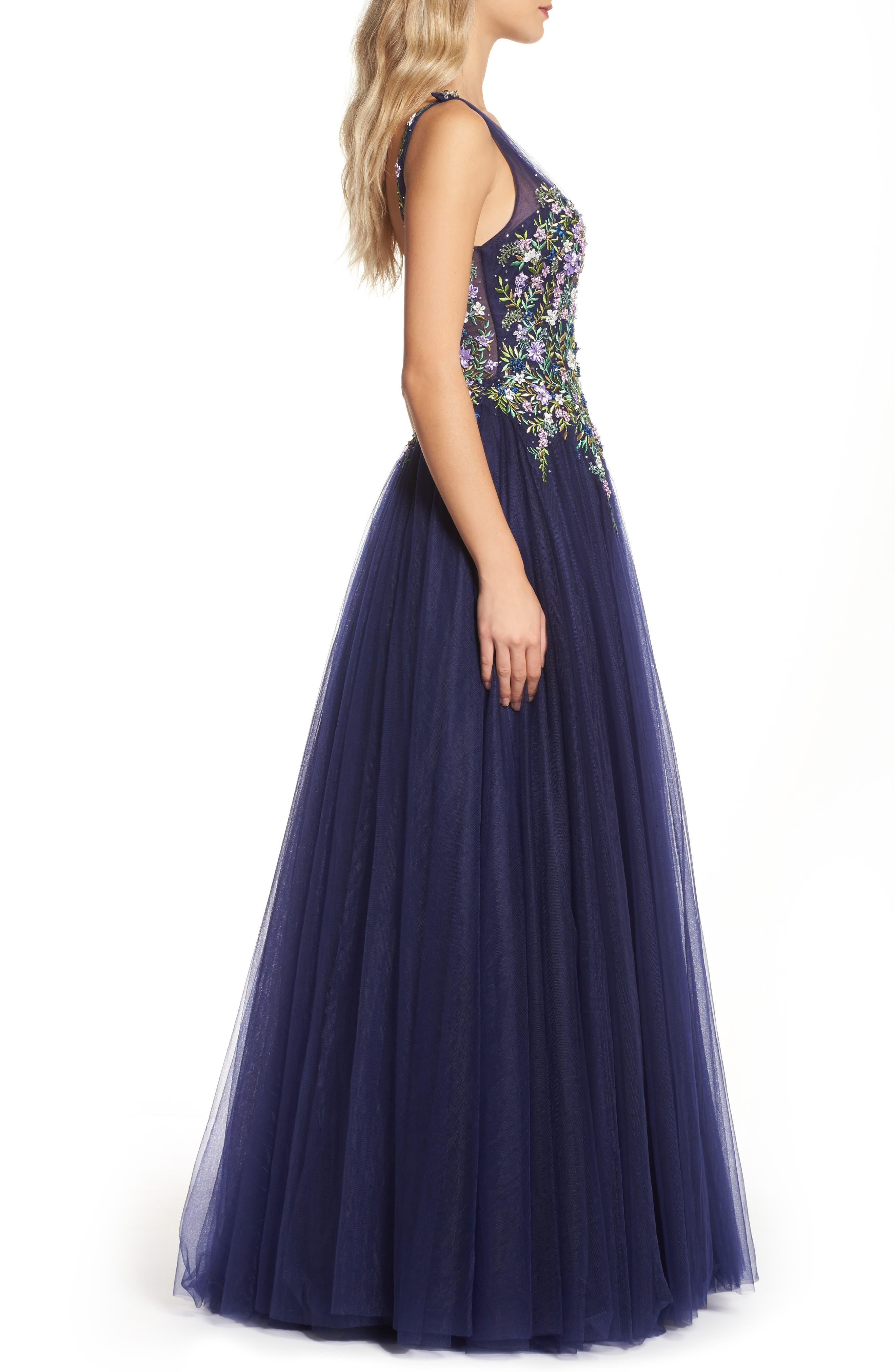 Embroidered Bodice Ballgown,                             Alternate thumbnail 3, color,                             Indigo