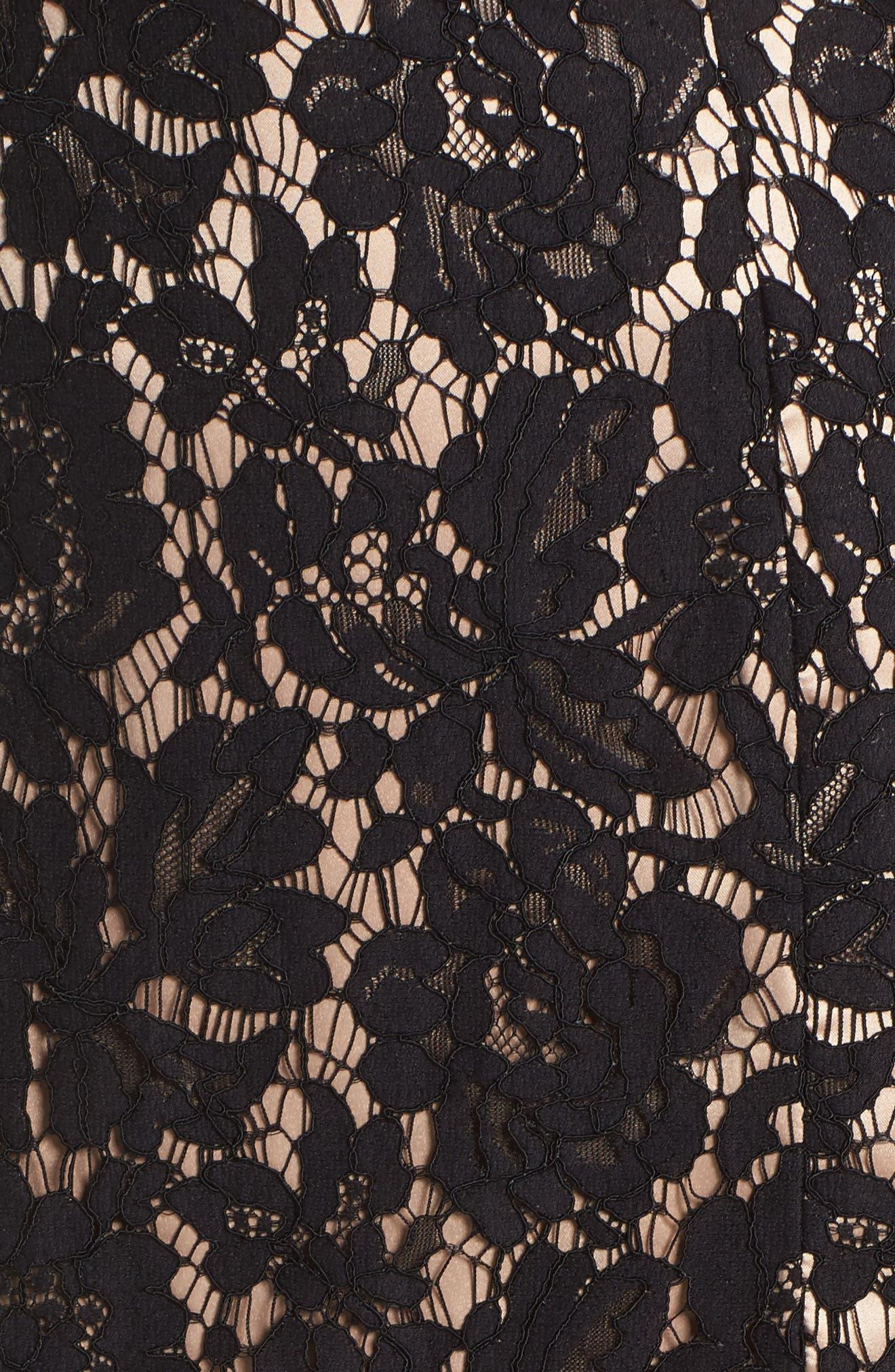 Lace Off the Shoulder Midi Dress,                             Alternate thumbnail 5, color,                             Black