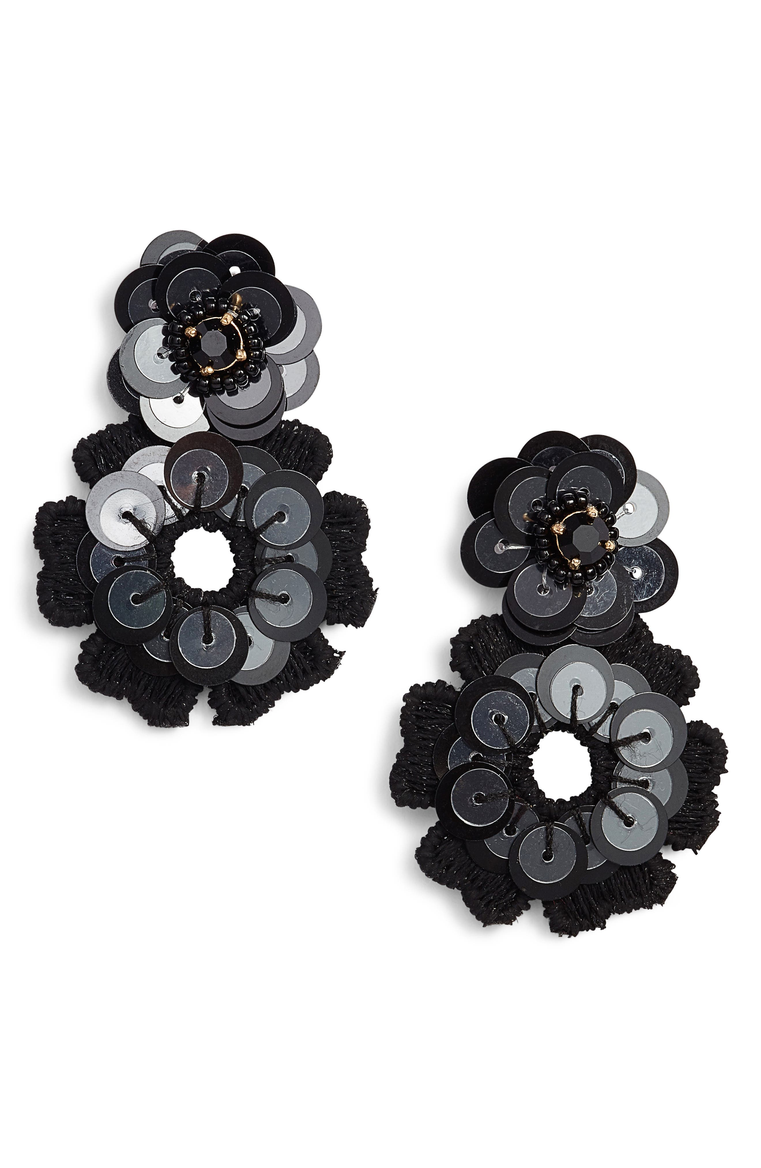 posy grove sequin drop earrings,                             Main thumbnail 1, color,                             Black Multi