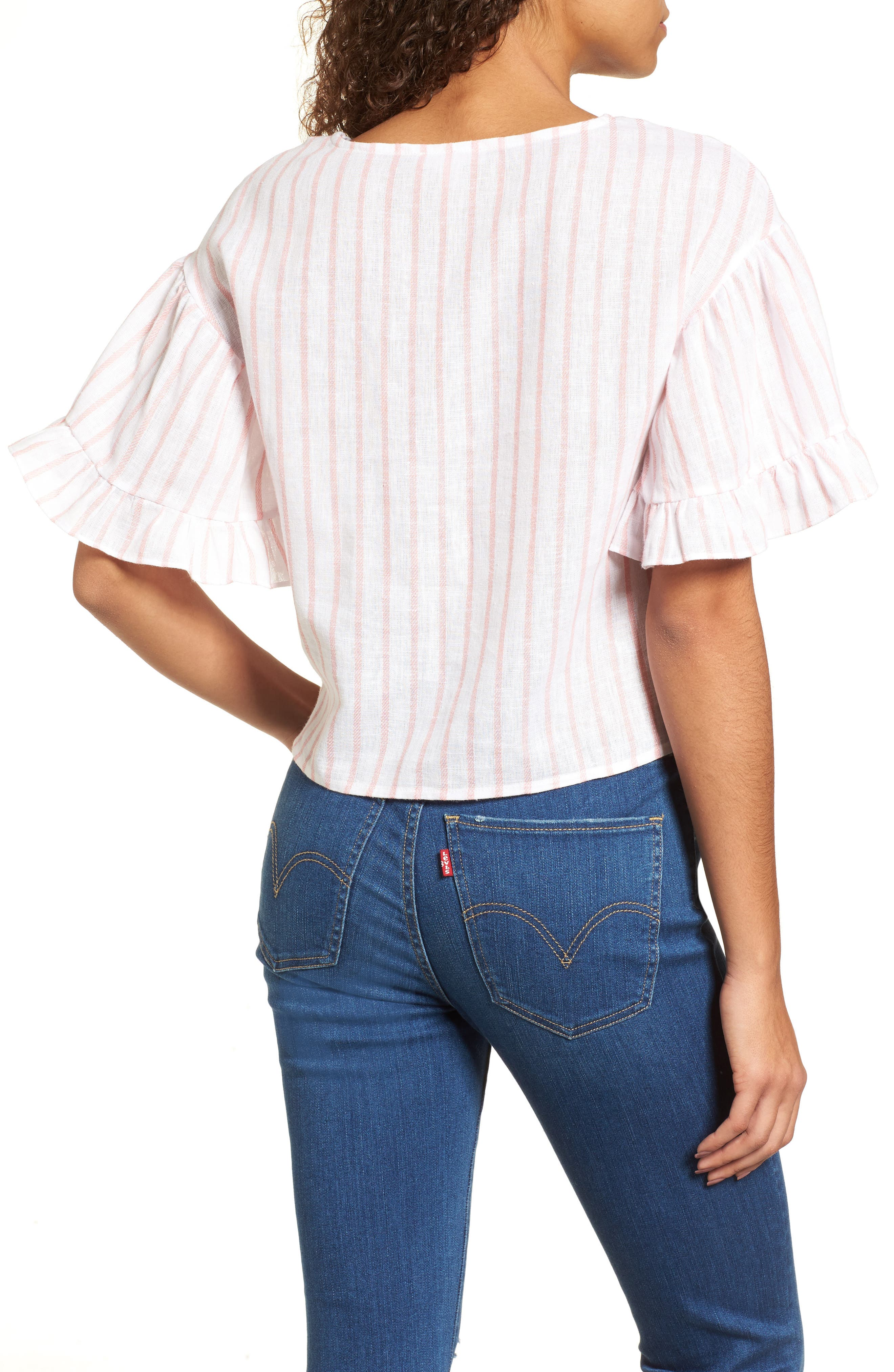 Ruffle Sleeve Linen Blend Crop Top,                             Alternate thumbnail 2, color,                             Pink Breath Katie Stripe