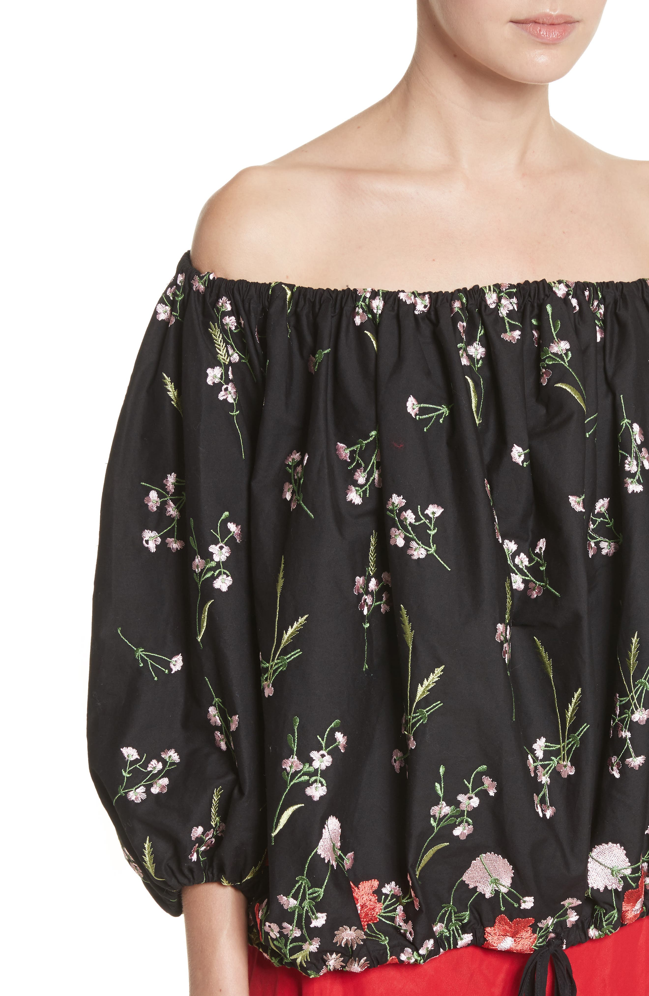 Marques'Almeida Embroidered Off the Shoulder Top,                             Alternate thumbnail 4, color,                             Black/Multi
