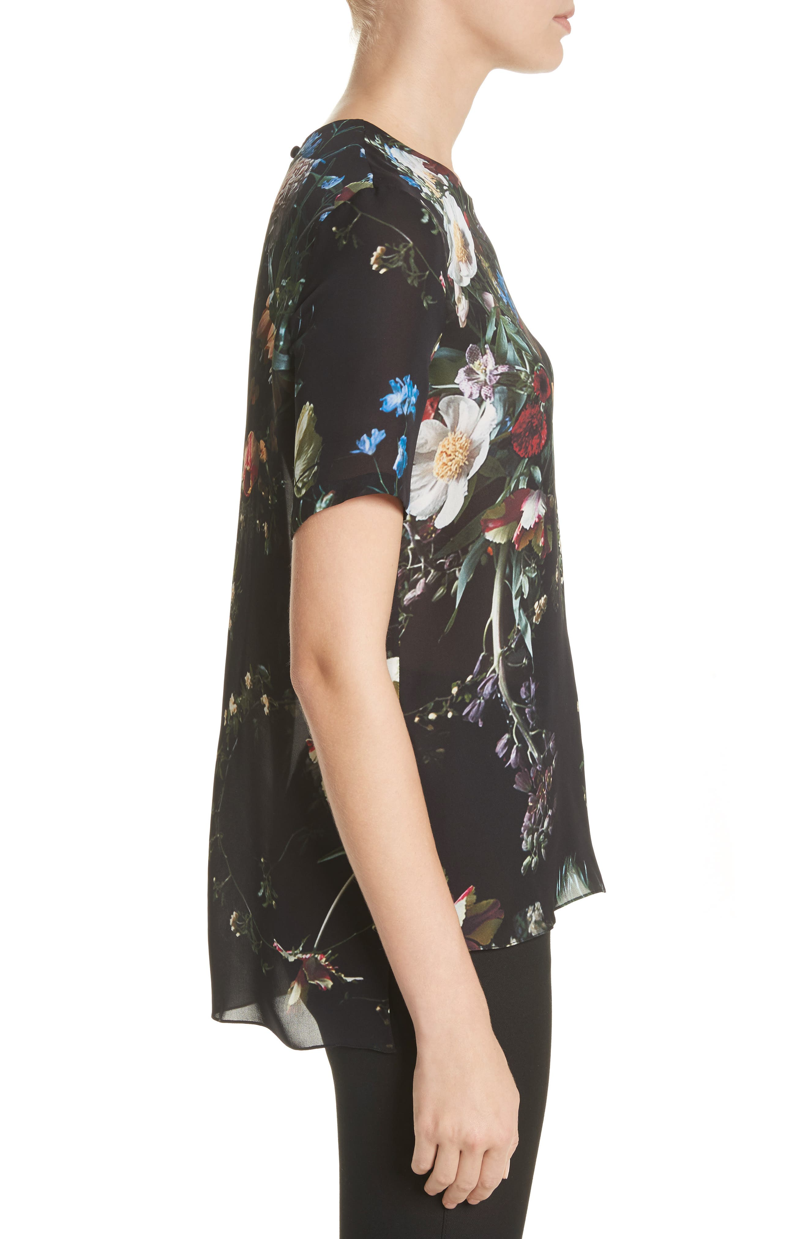 Floral Print Silk Tee,                             Alternate thumbnail 3, color,                             Black