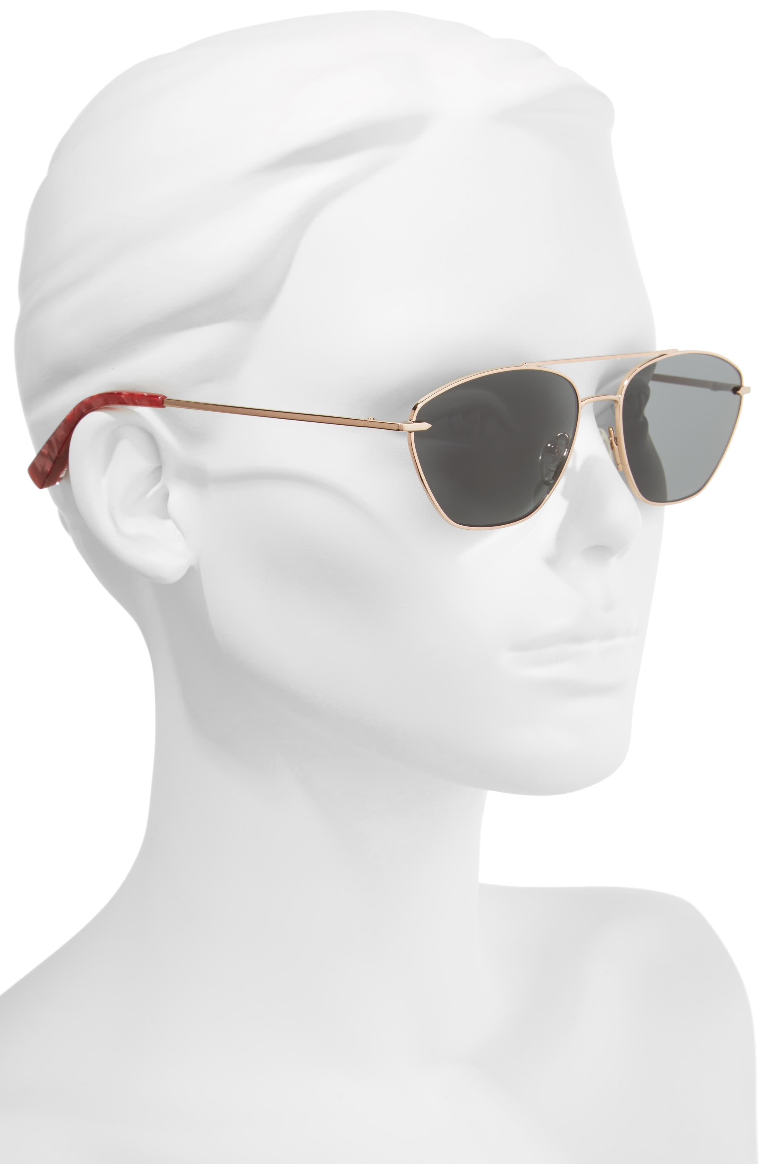Johnson 56mm Navigator Sunglasses,                             Alternate thumbnail 2, color,                             Rose Gold/ Smoke