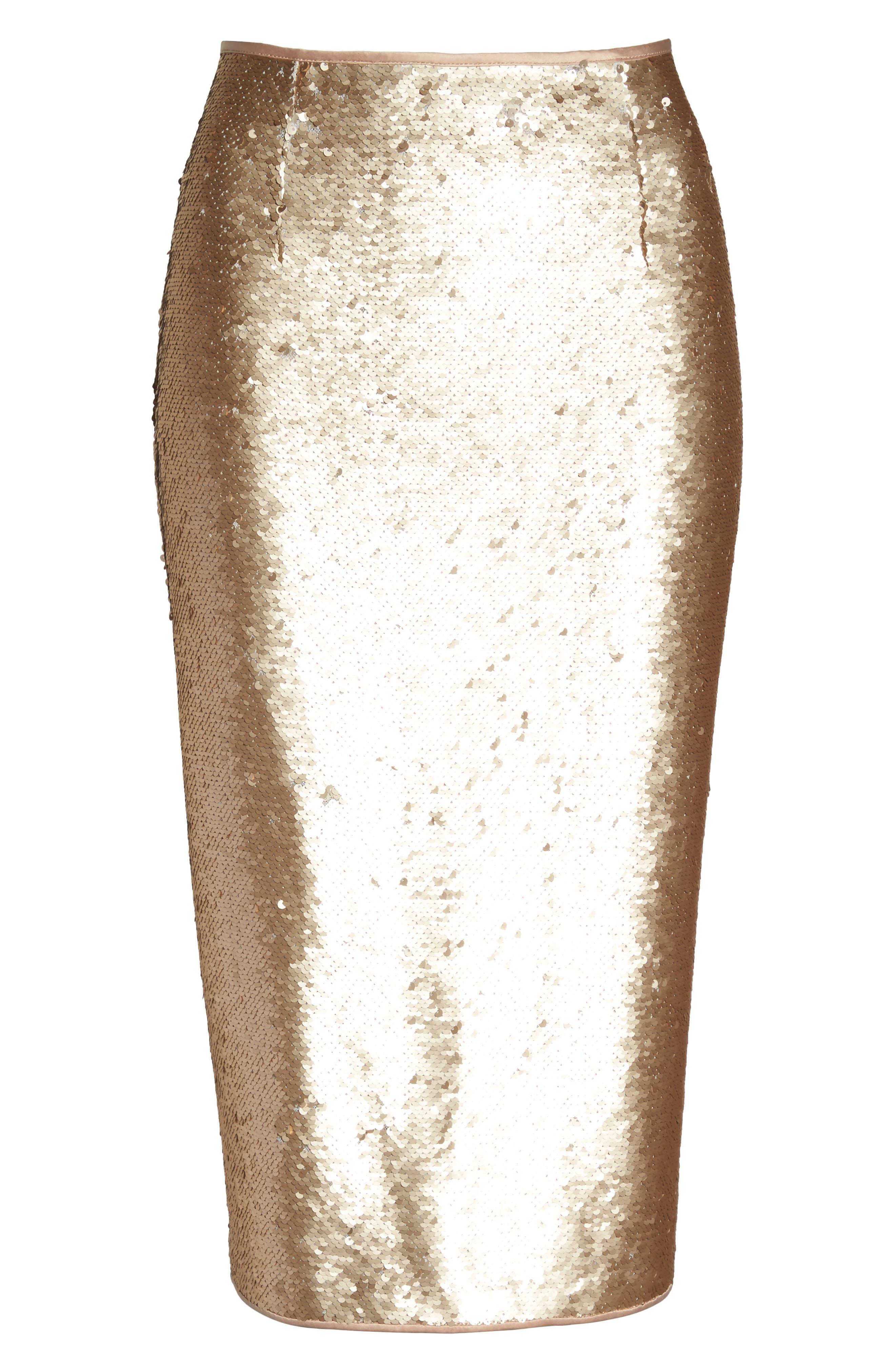 Paillette Pencil Skirt,                             Alternate thumbnail 7, color,                             Gold
