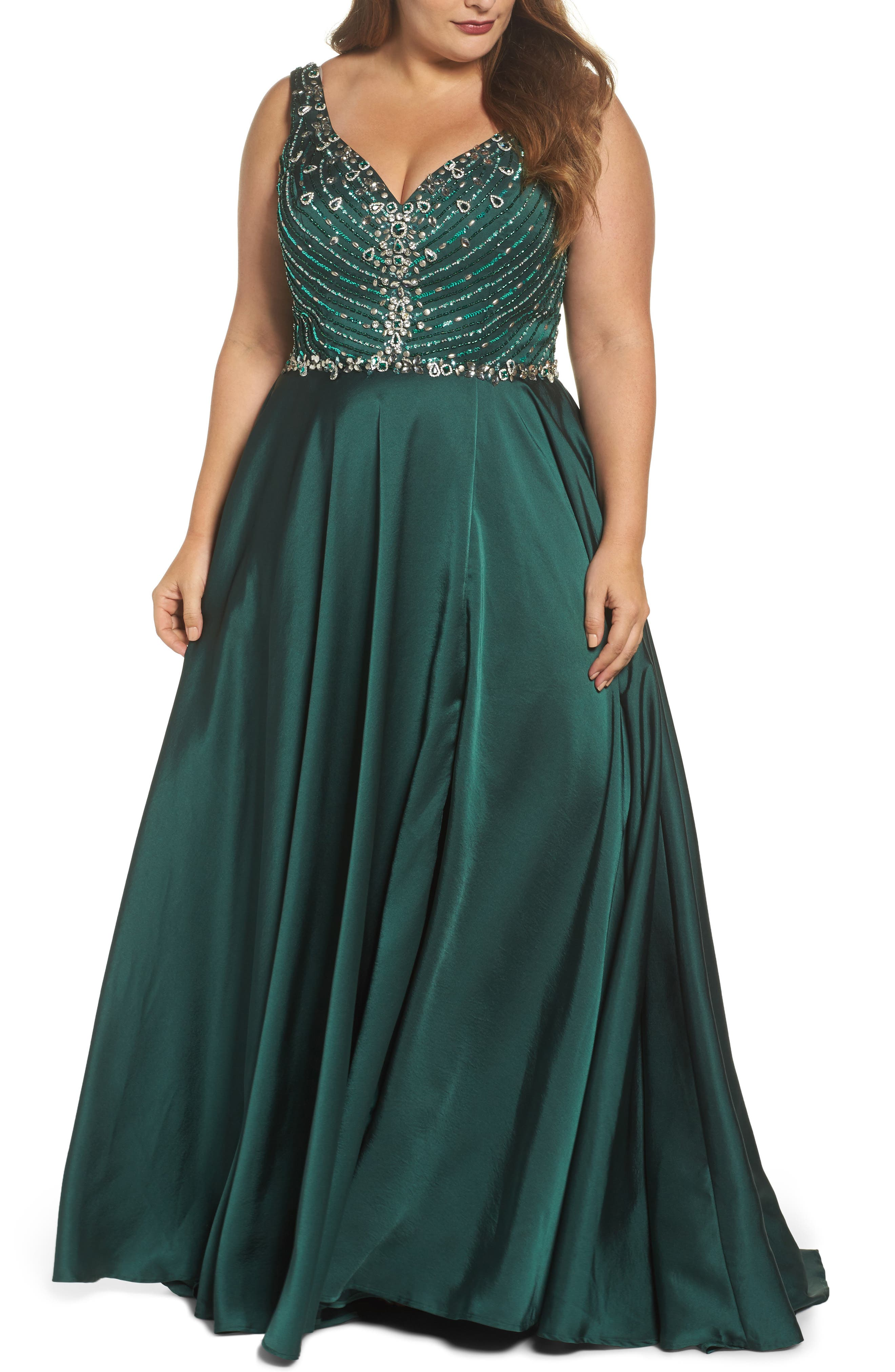 Beaded Bodice Gown,                         Main,                         color, Emerald