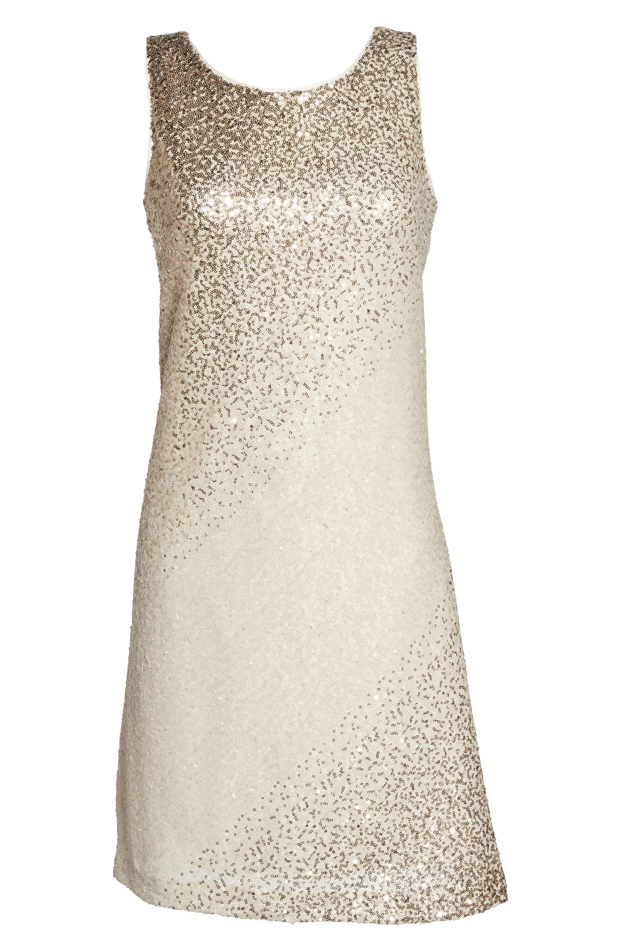 Sequin Shift Dress,                             Alternate thumbnail 6, color,                             Ivory/ Gold