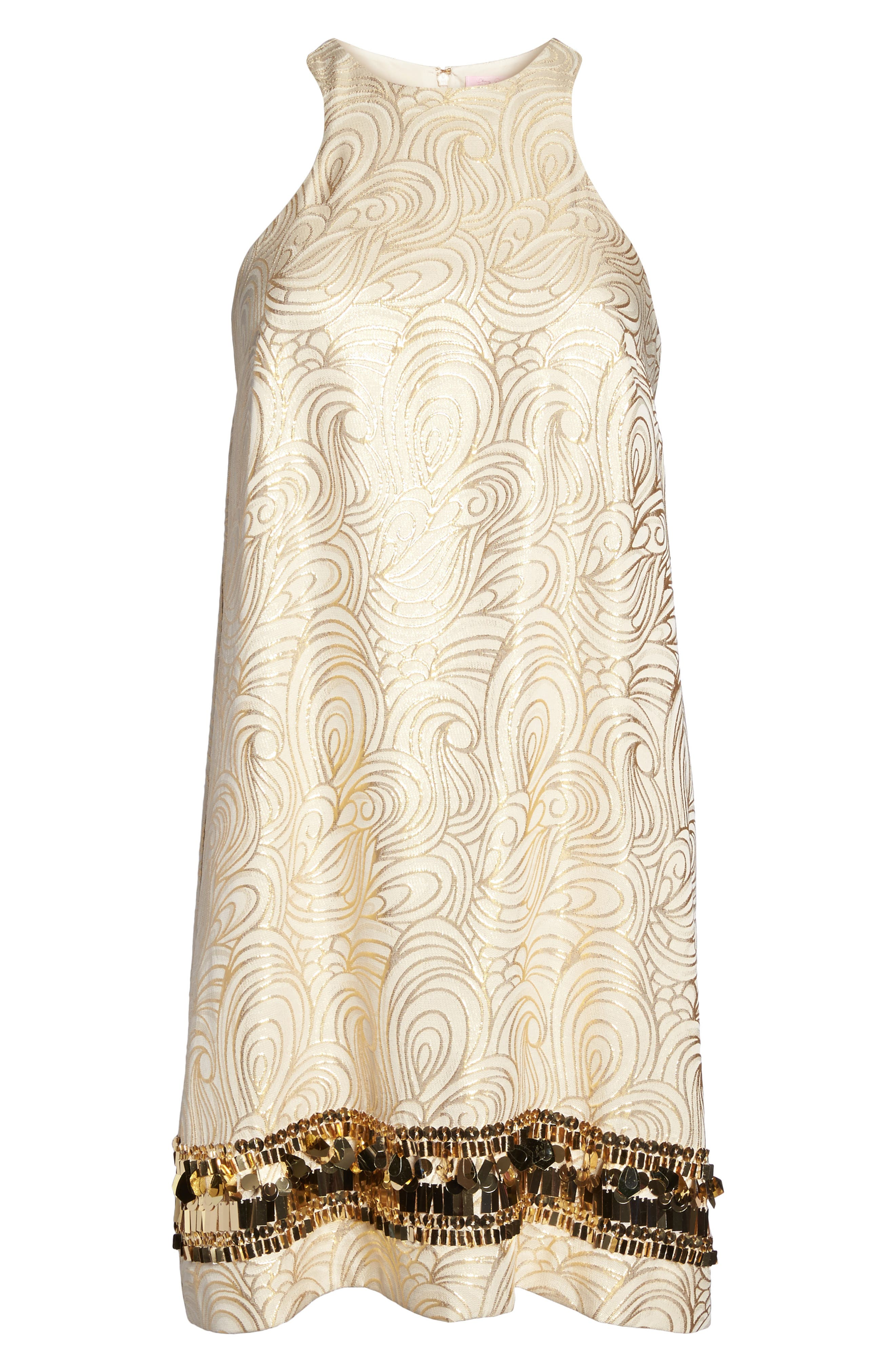 Diedra Shift Dress,                             Alternate thumbnail 6, color,                             Gold Tidal Wave Jacquard