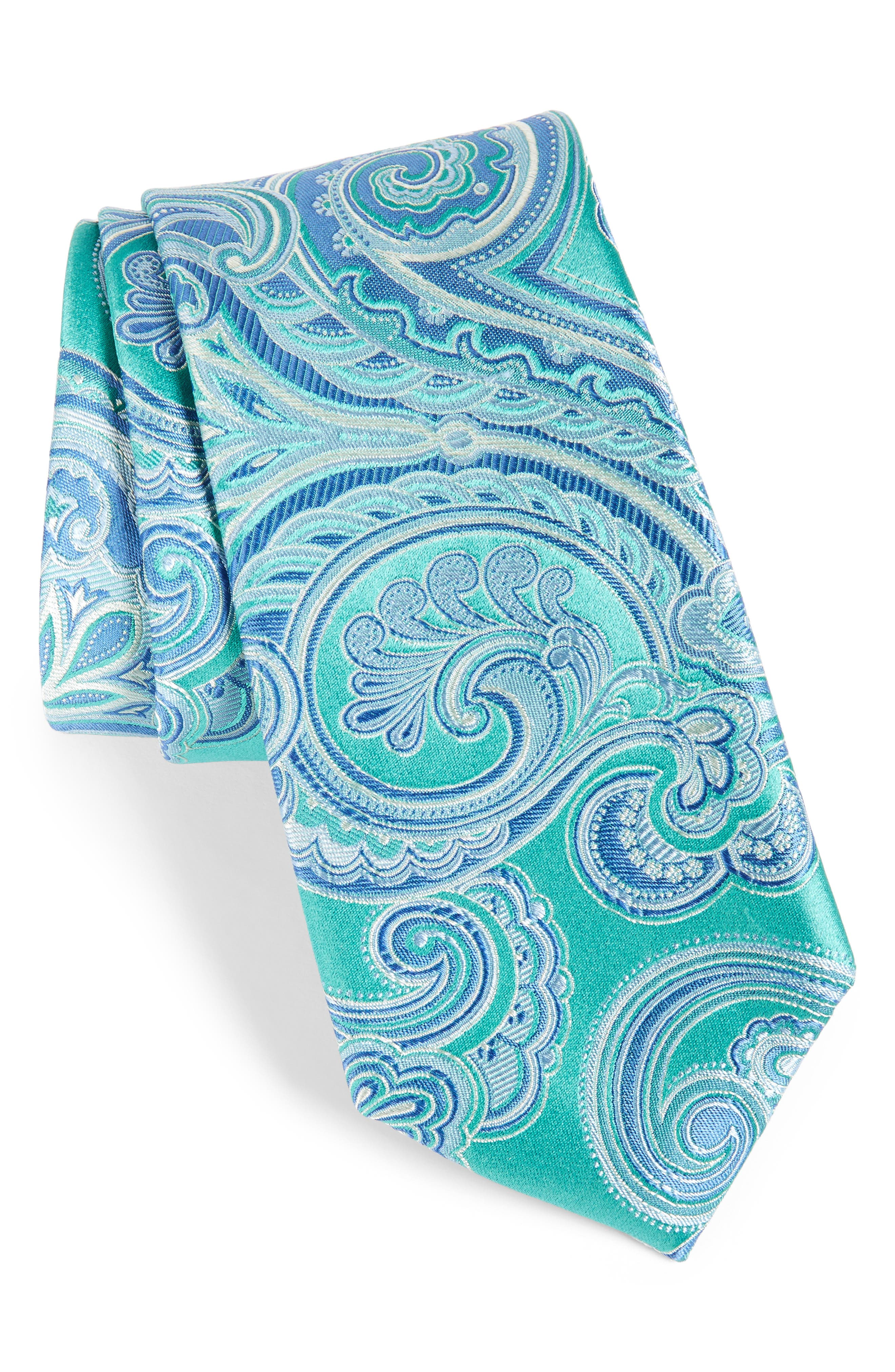 Paisley Silk Tie,                             Main thumbnail 1, color,                             Green