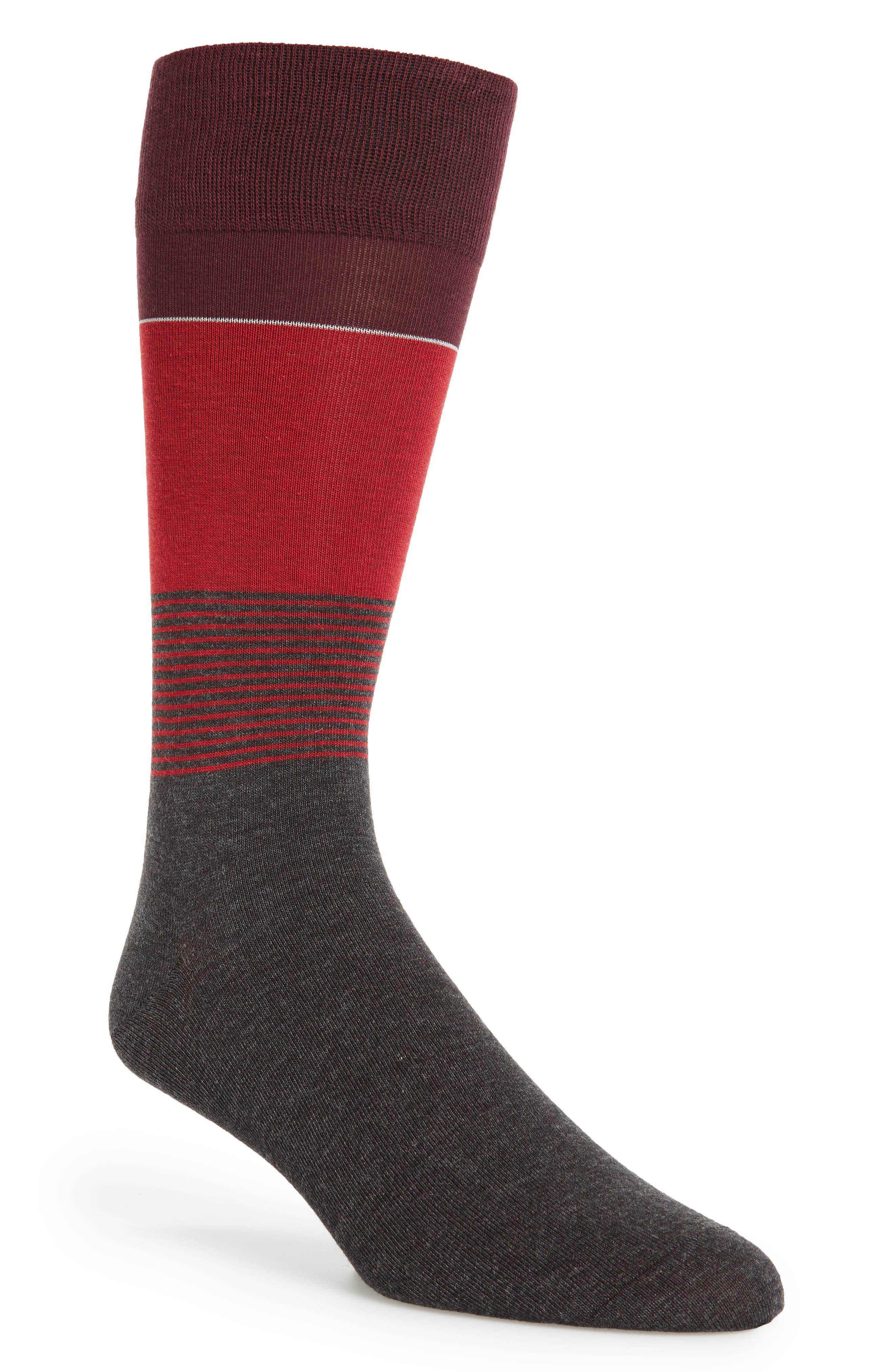 Stripe Socks,                             Main thumbnail 1, color,                             Graphite Heather/ Red