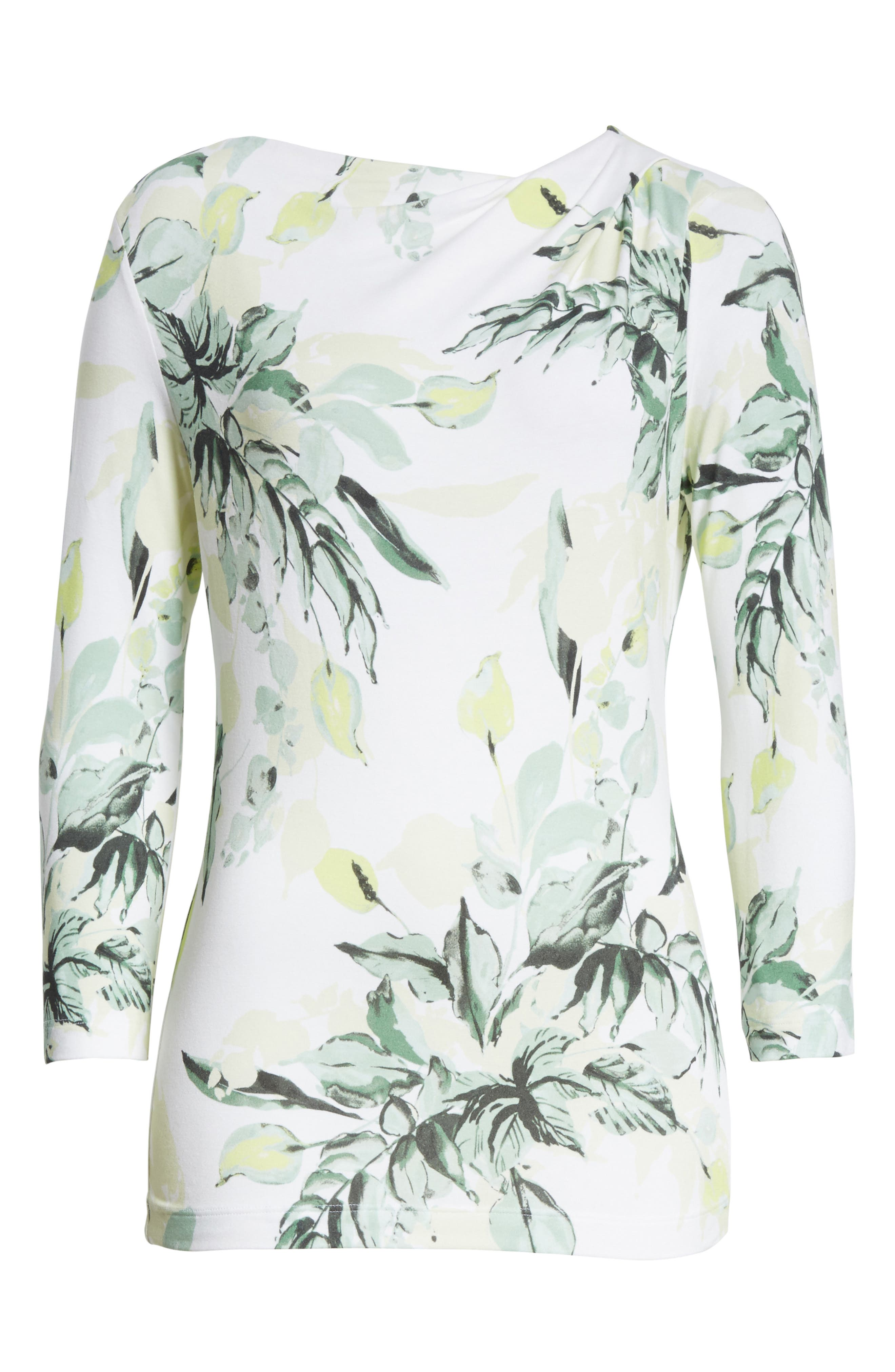 Painted Leaves Print Jersey Top,                             Alternate thumbnail 6, color,                             Bianco Multi