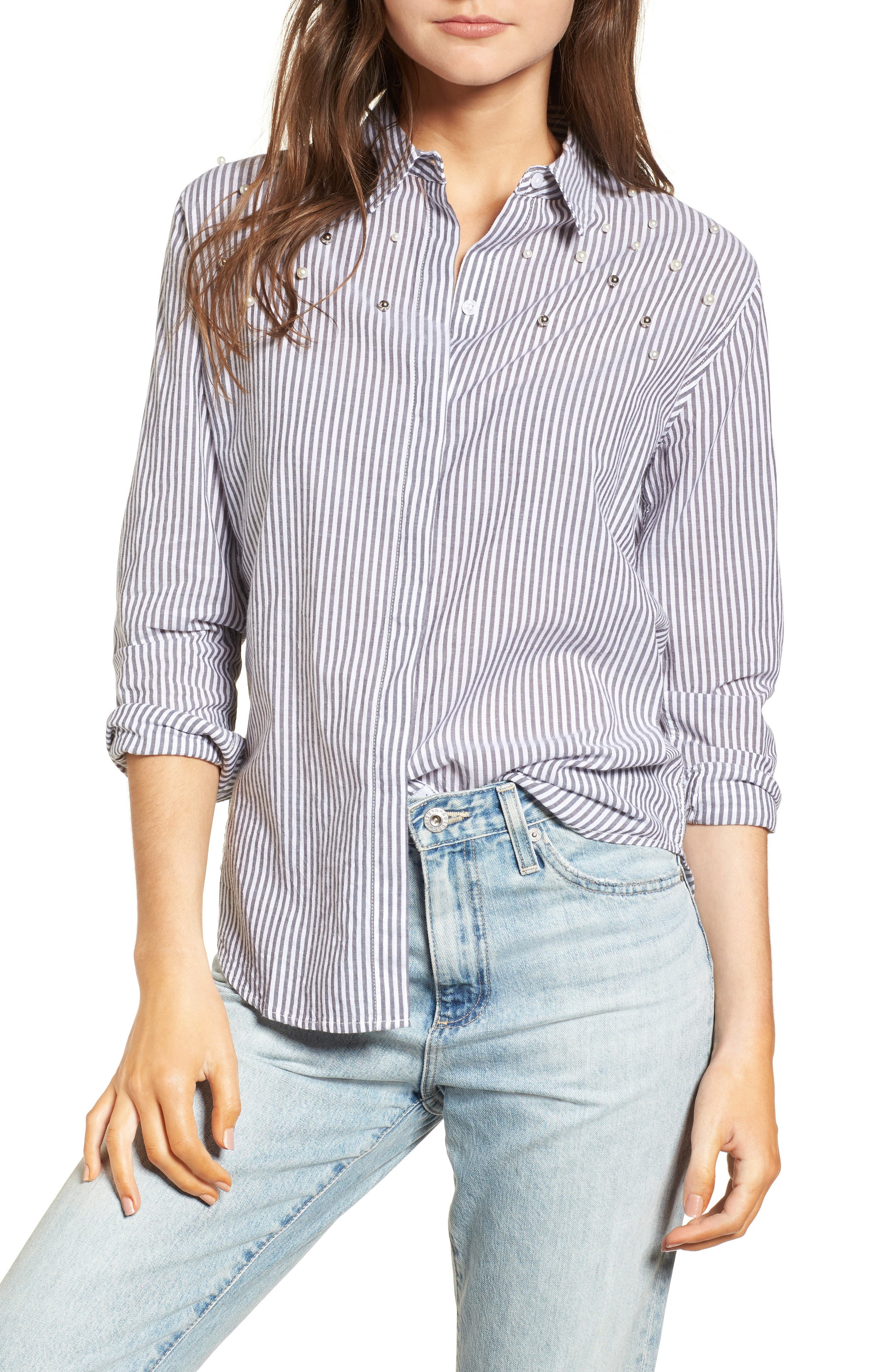 Taylor Embellished Shirt,                             Main thumbnail 1, color,                             Florence Stripe Studded Pearls