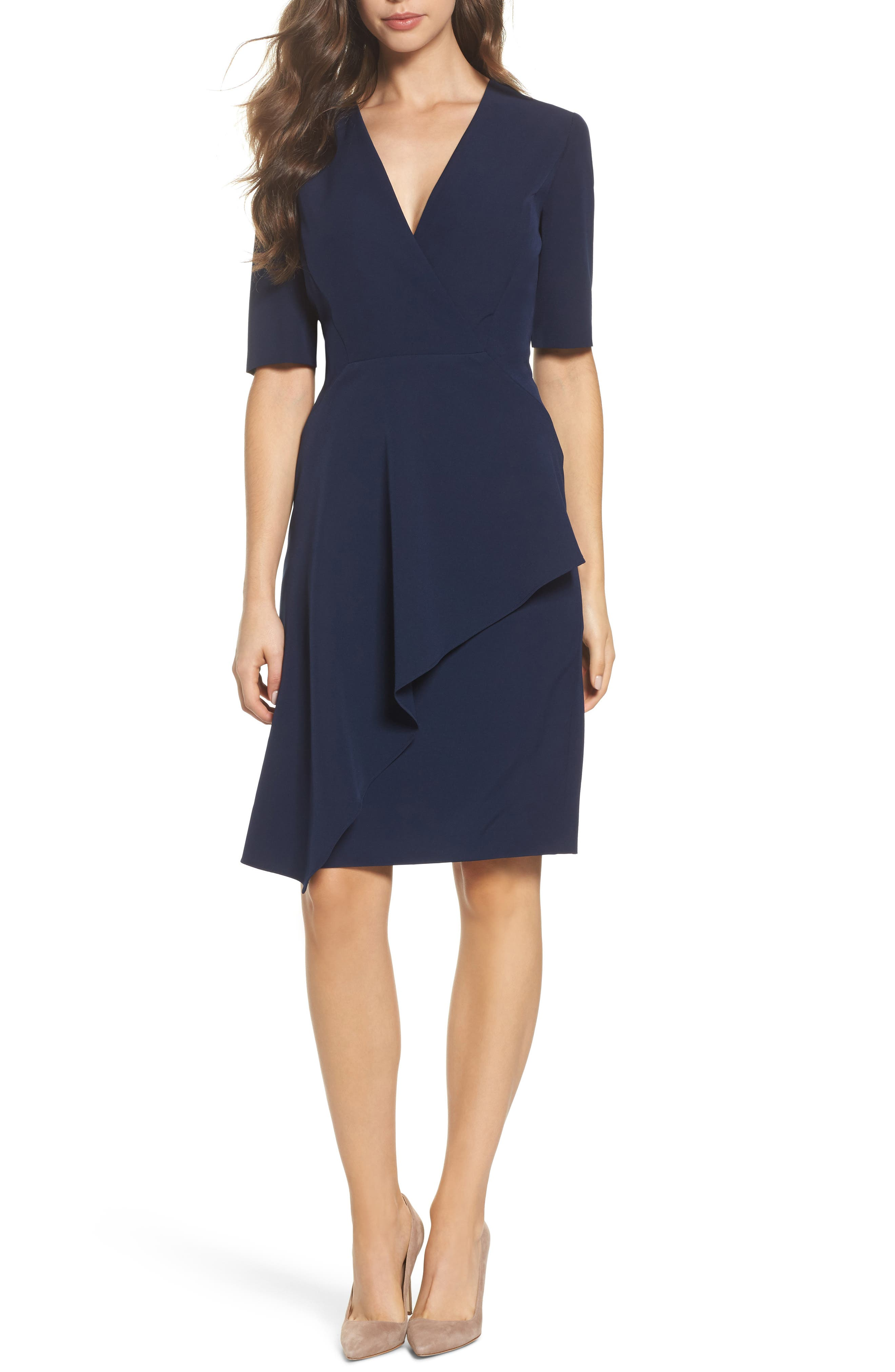 Solid Dream Crepe Sheath Dress,                         Main,                         color, Dark Navy