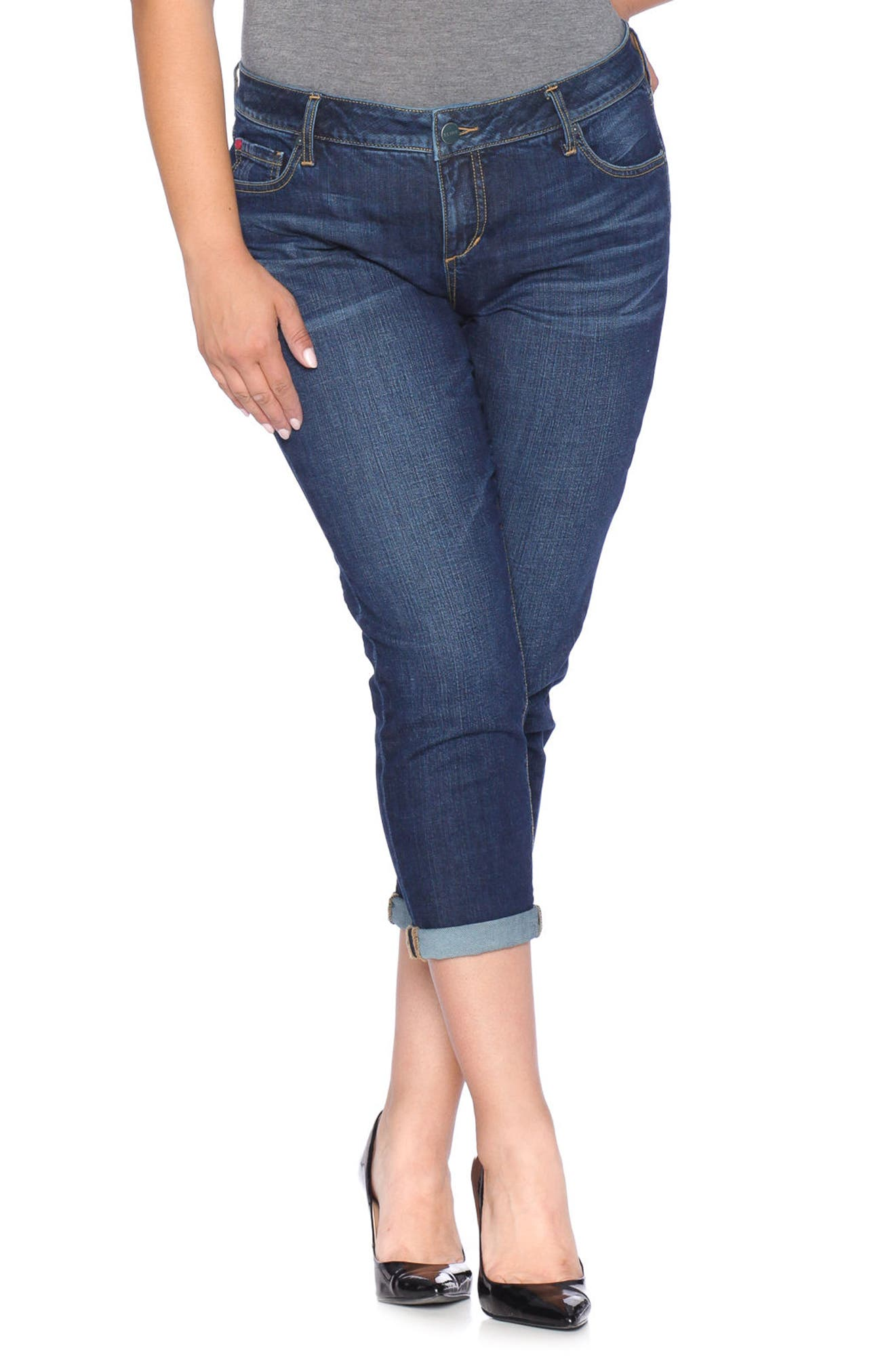 Roll Crop Boyfriend Jeans,                         Main,                         color, Sabine