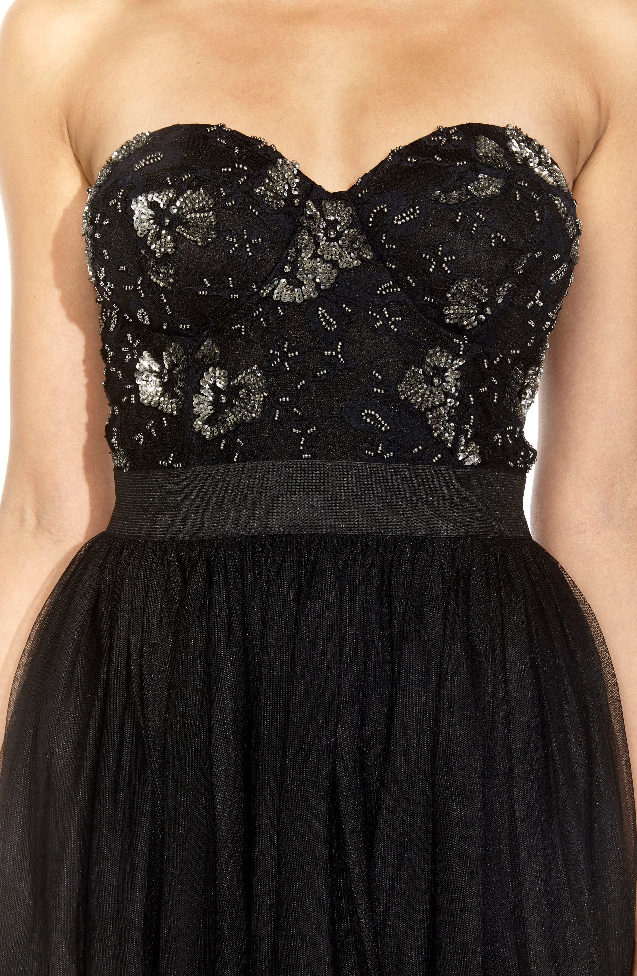 Alternate Image 3  - Lace & Beads Mika Embellished Strapless Dress