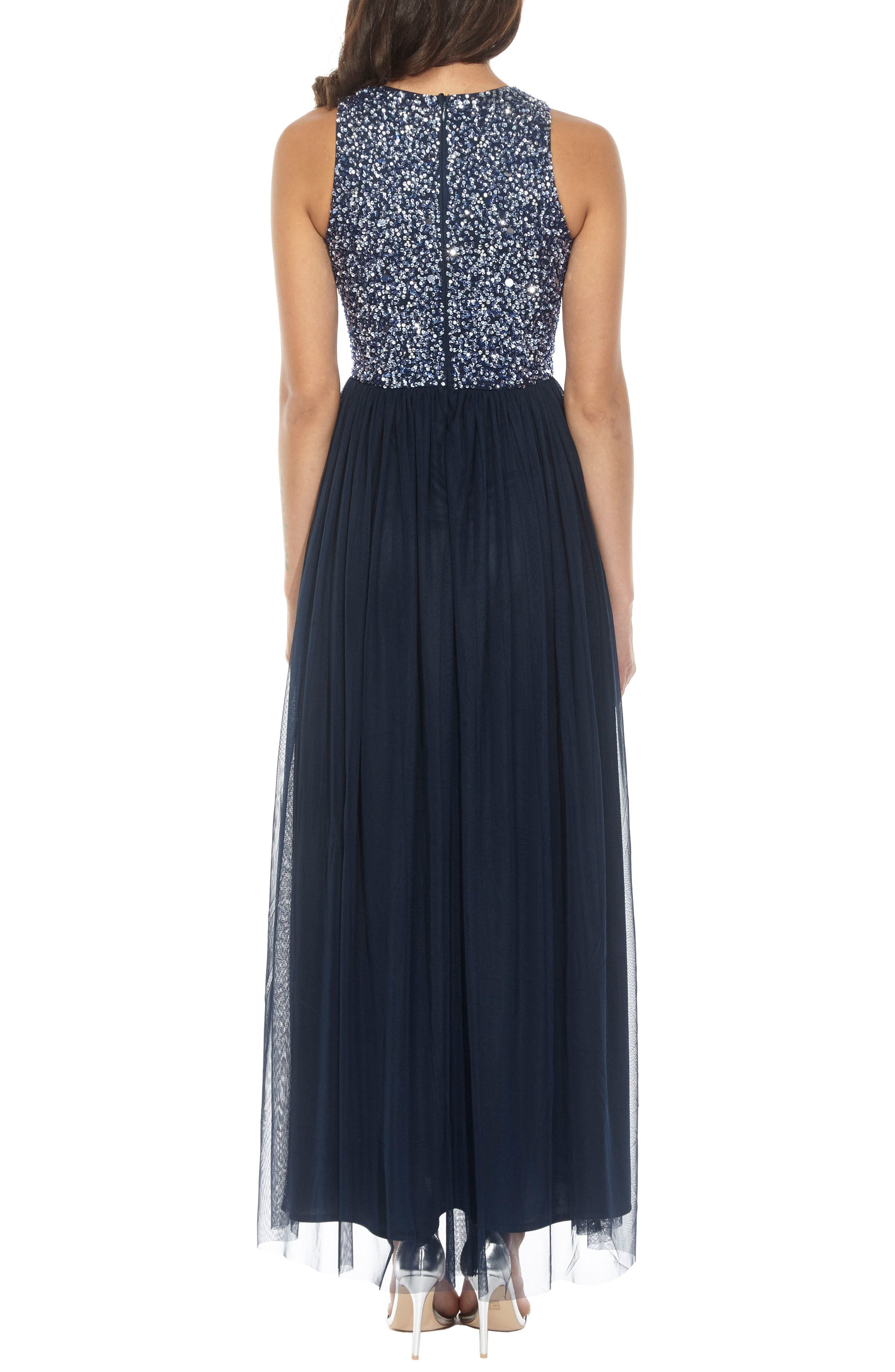 Picasso Embellished Bodice Maxi Dress,                             Alternate thumbnail 2, color,                             Navy