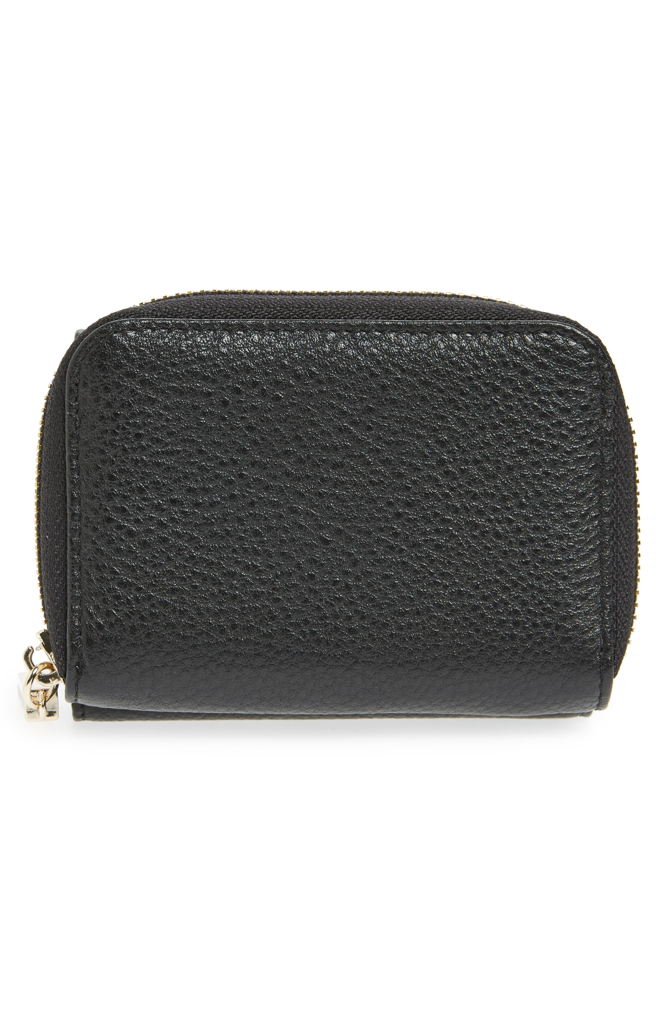 Céline Dion Small Adagio Leather Wallet,                             Alternate thumbnail 3, color,                             Black