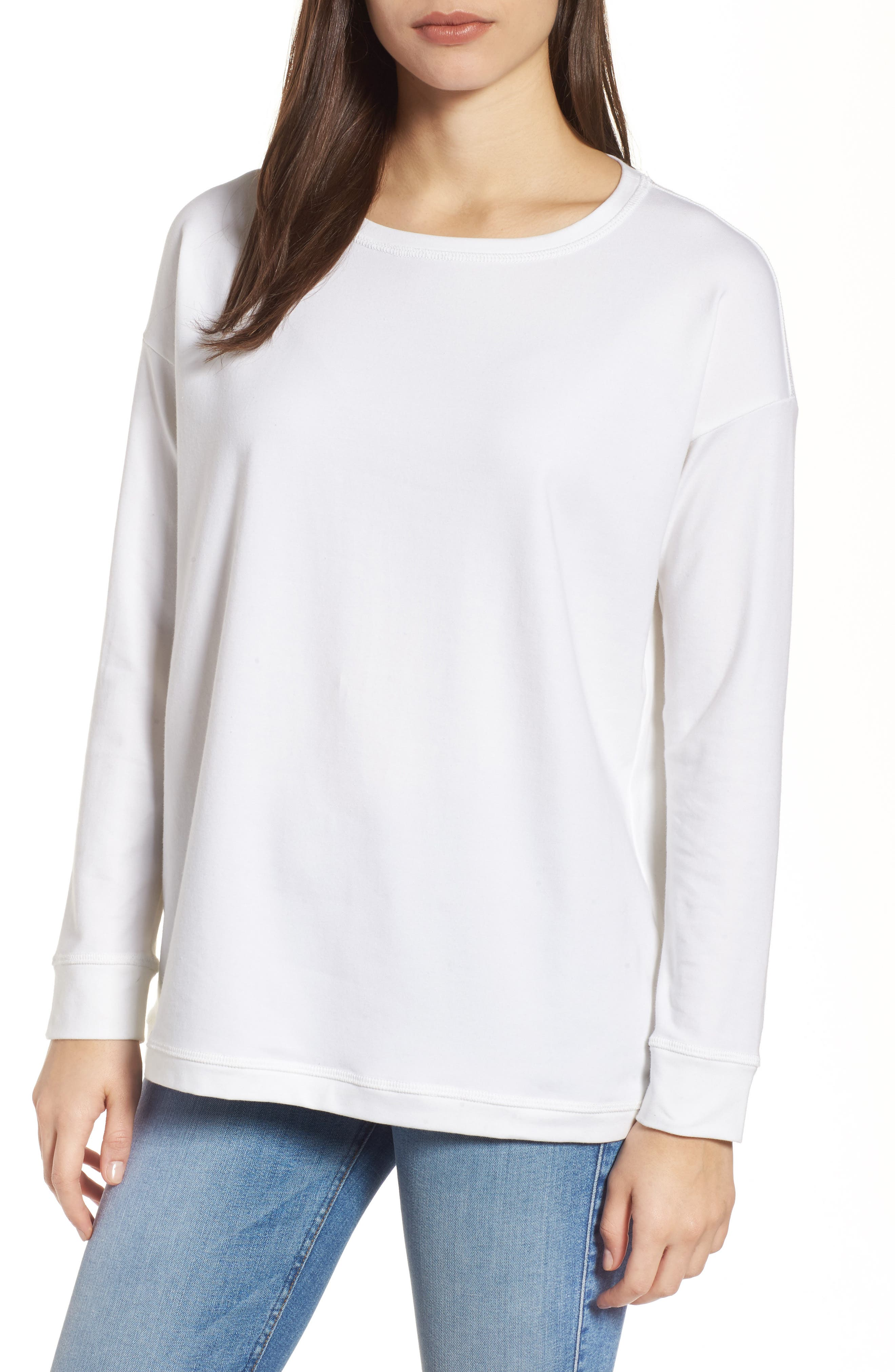 Jewel Neck Organic Stretch Cotton Tee,                         Main,                         color, White