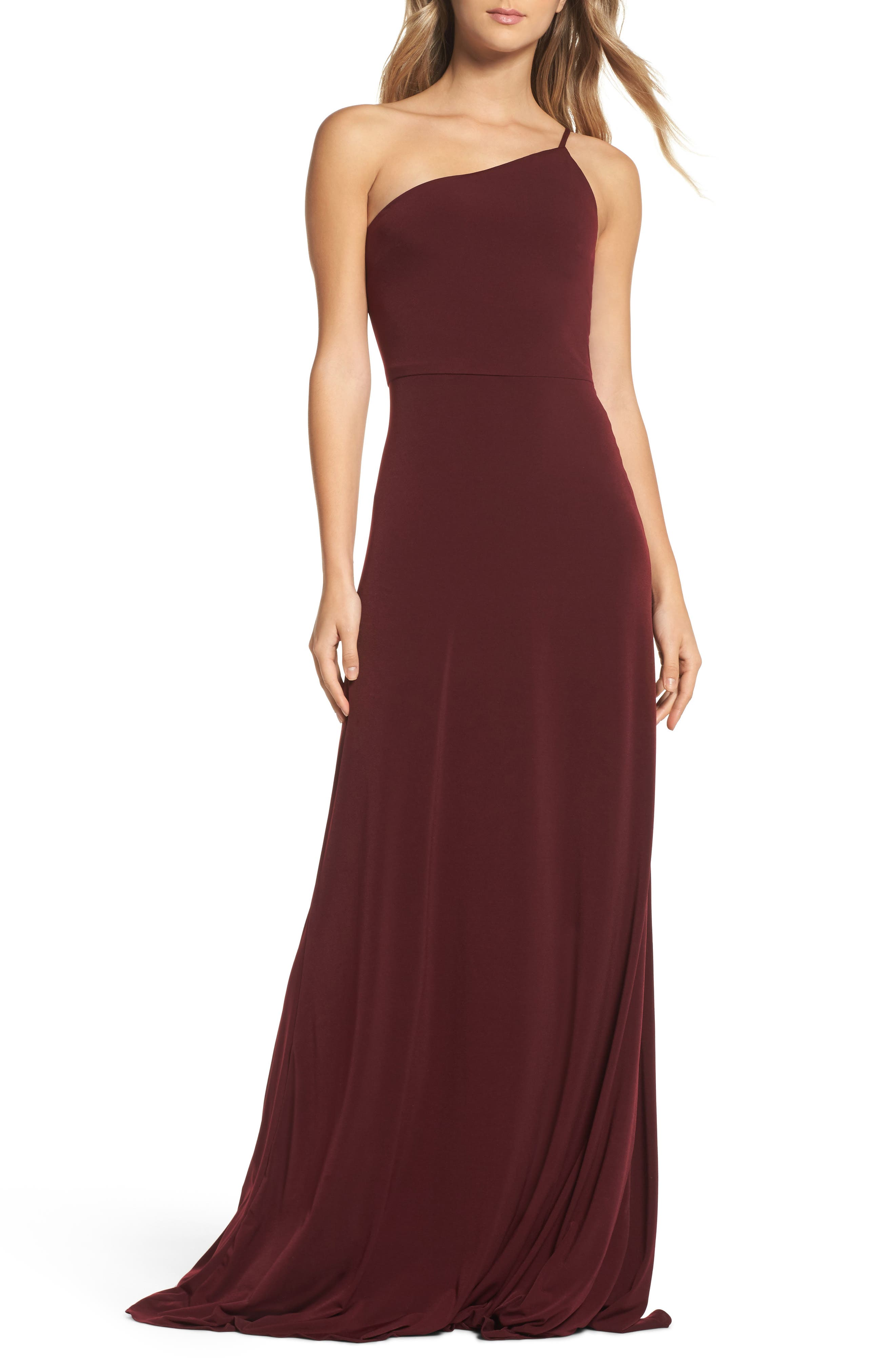 Jersey One-Shoulder Gown,                             Main thumbnail 1, color,                             Ruby